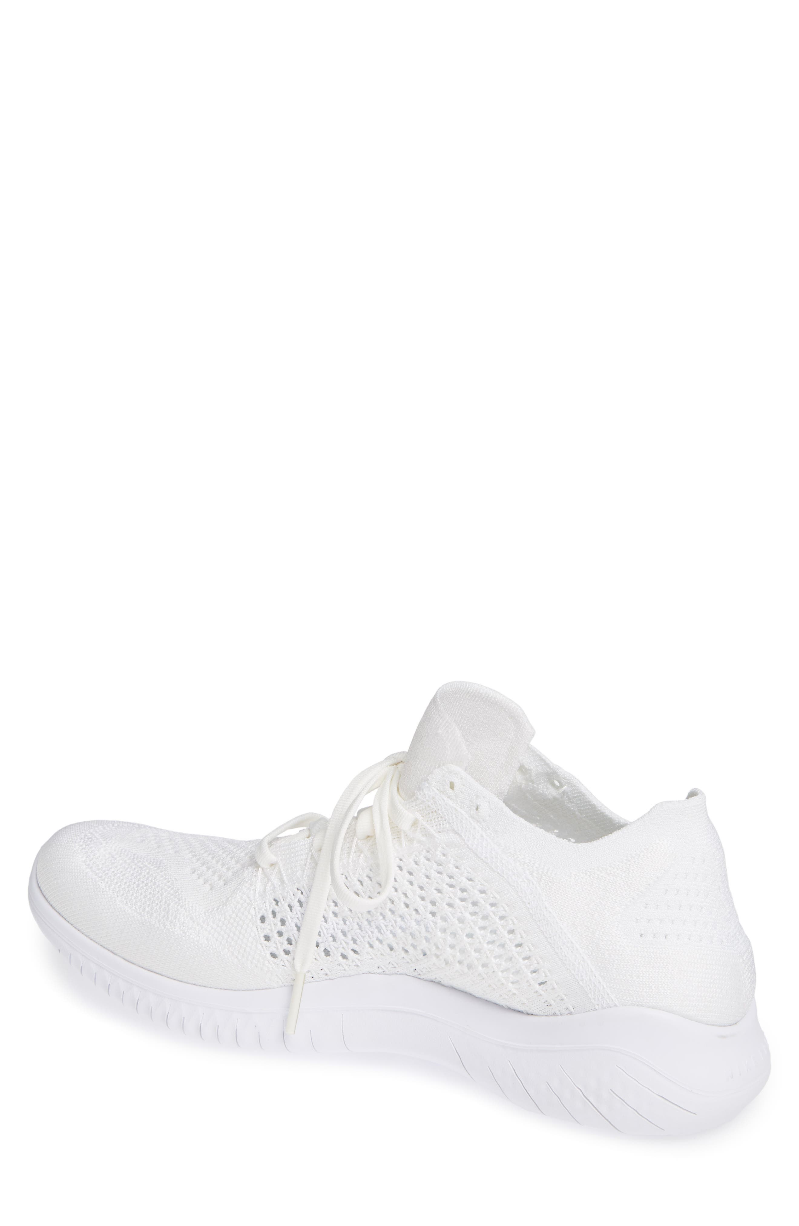 NIKE,                             Free RN Flyknit 2018 Running Shoe,                             Alternate thumbnail 2, color,                             WHITE/ WHITE