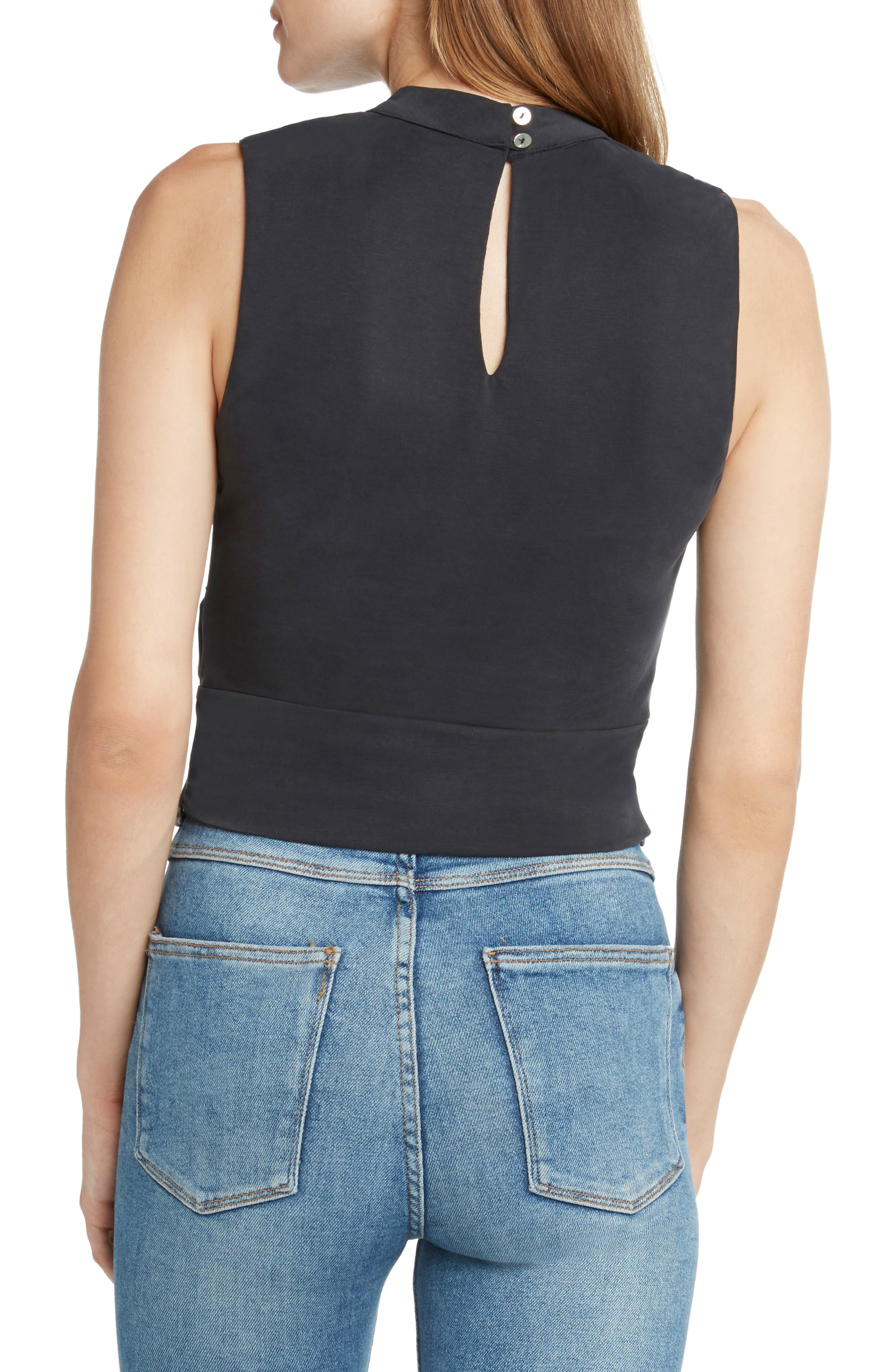 Twist Front Sleeveless Crop Top,                             Alternate thumbnail 2, color,                             BLACK