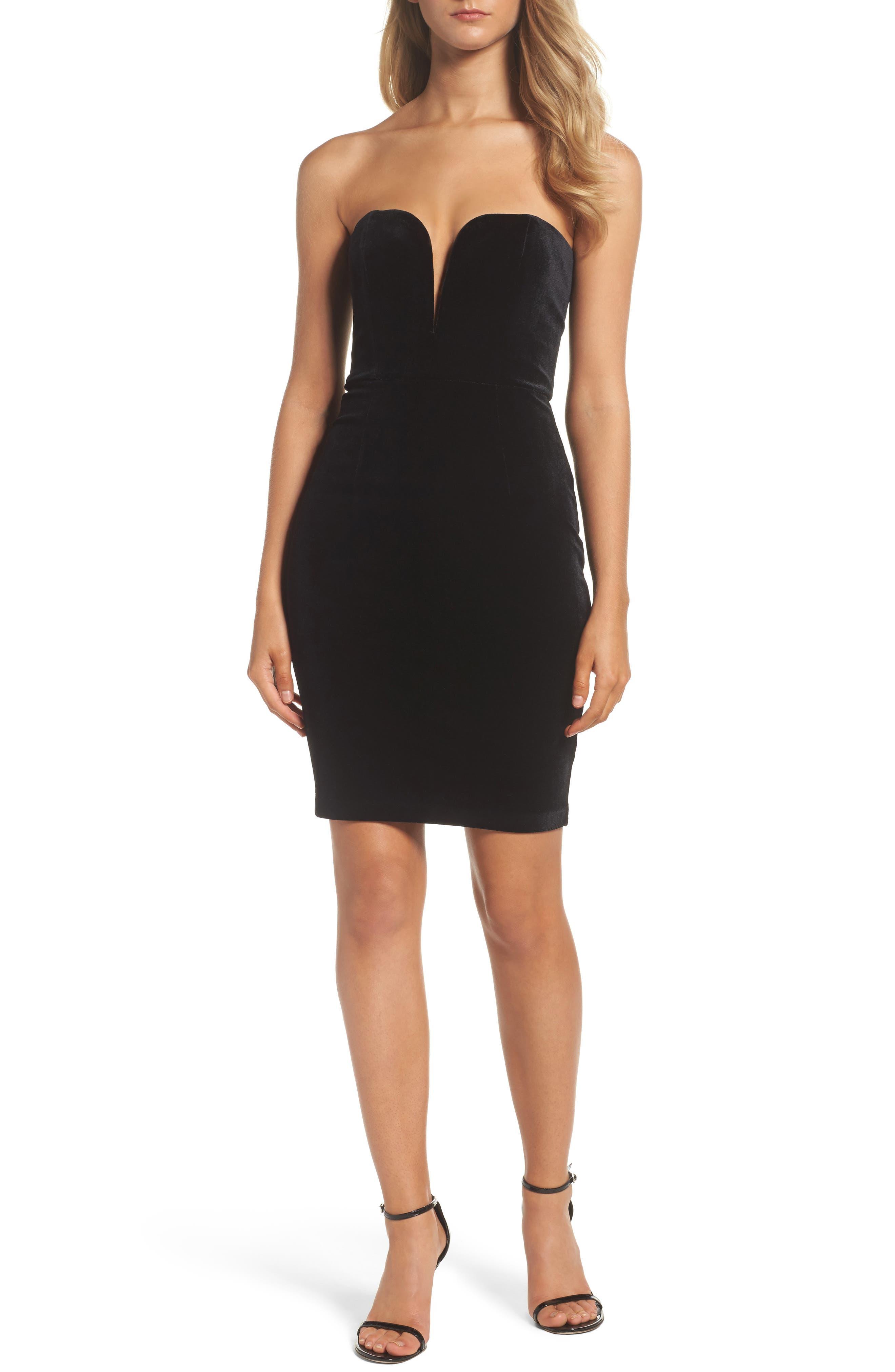 Velvet Bustier Dress,                         Main,                         color, 001