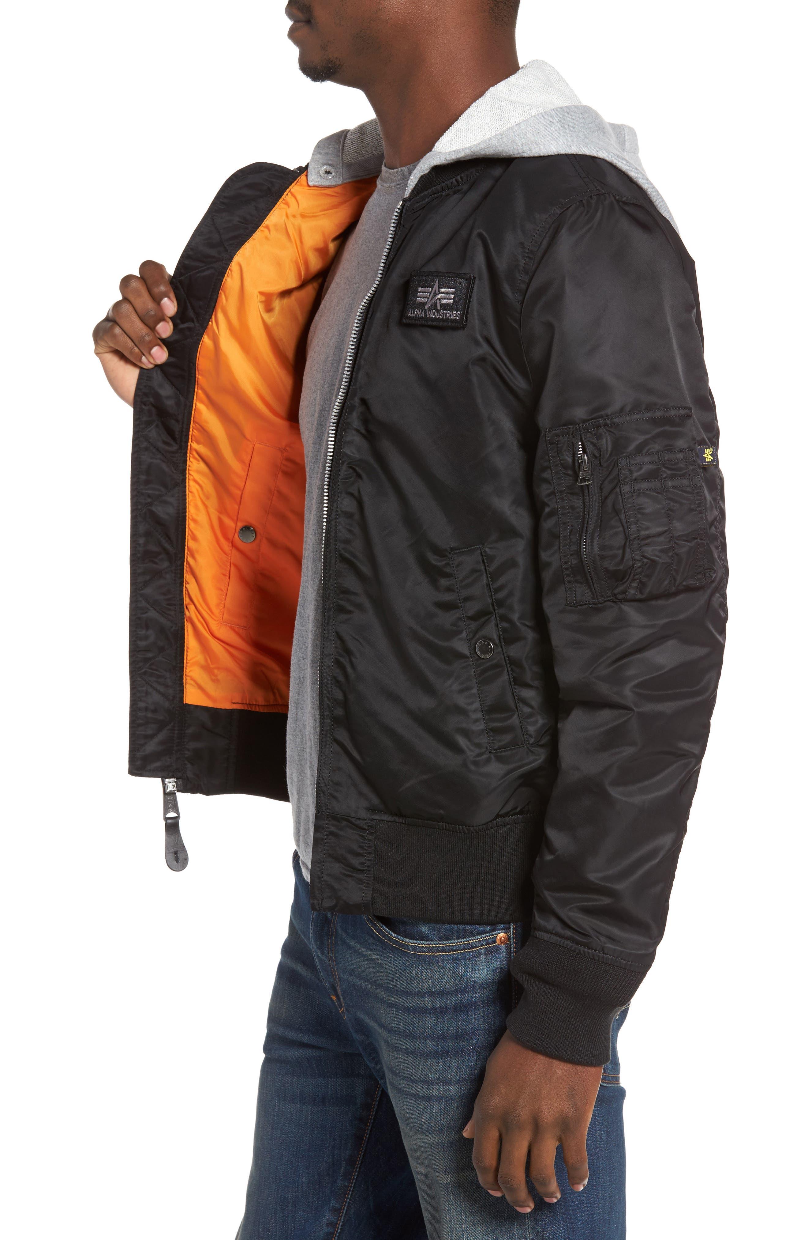 Lightweight L2-B Flight Jacket with Knit Hood,                             Alternate thumbnail 9, color,