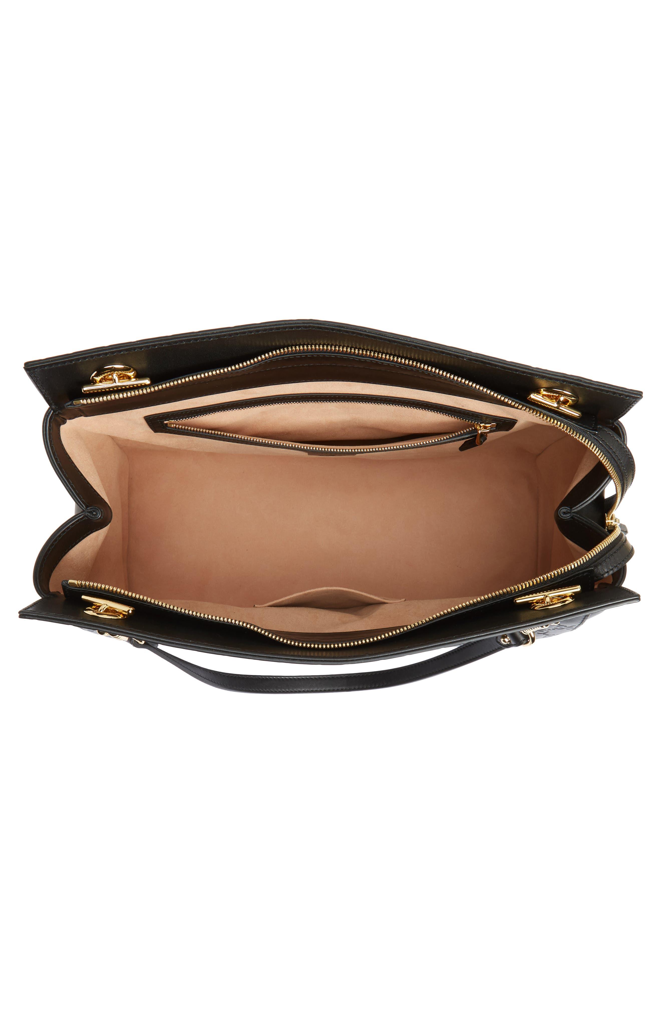 Large Signature Leather Shoulder Bag,                             Alternate thumbnail 4, color,                             001