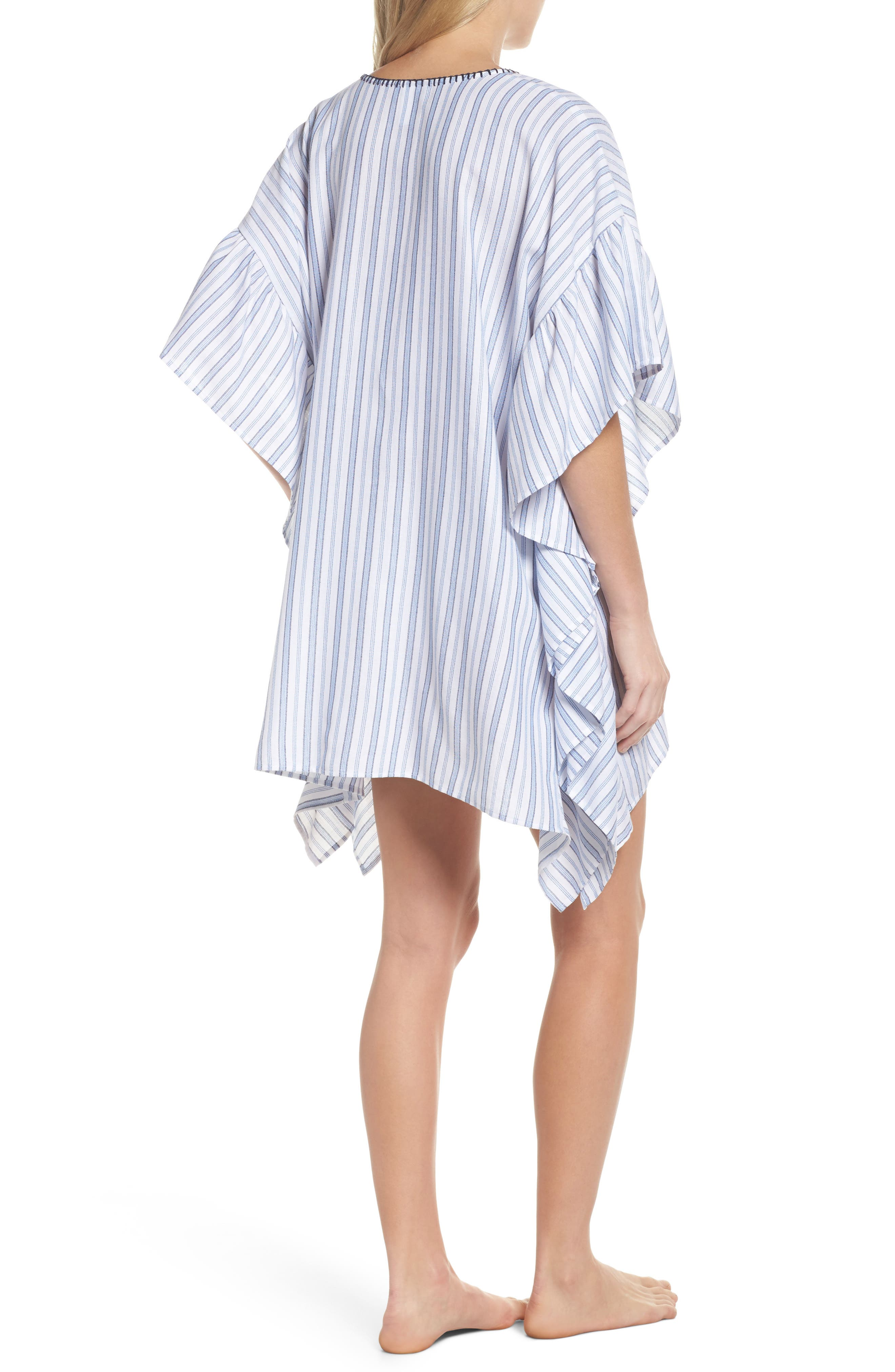 Ticking Stripe Cover-Up Tunic,                             Alternate thumbnail 2, color,                             WHITE
