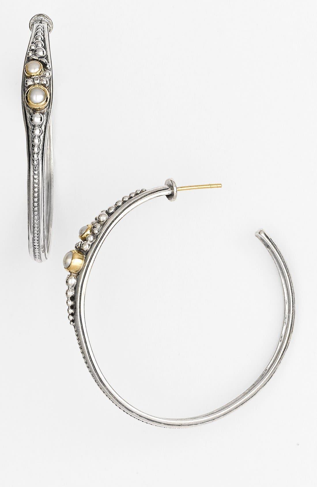 'Classics' Pearl Hoop Earrings,                             Main thumbnail 1, color,                             SILVER/ GOLD