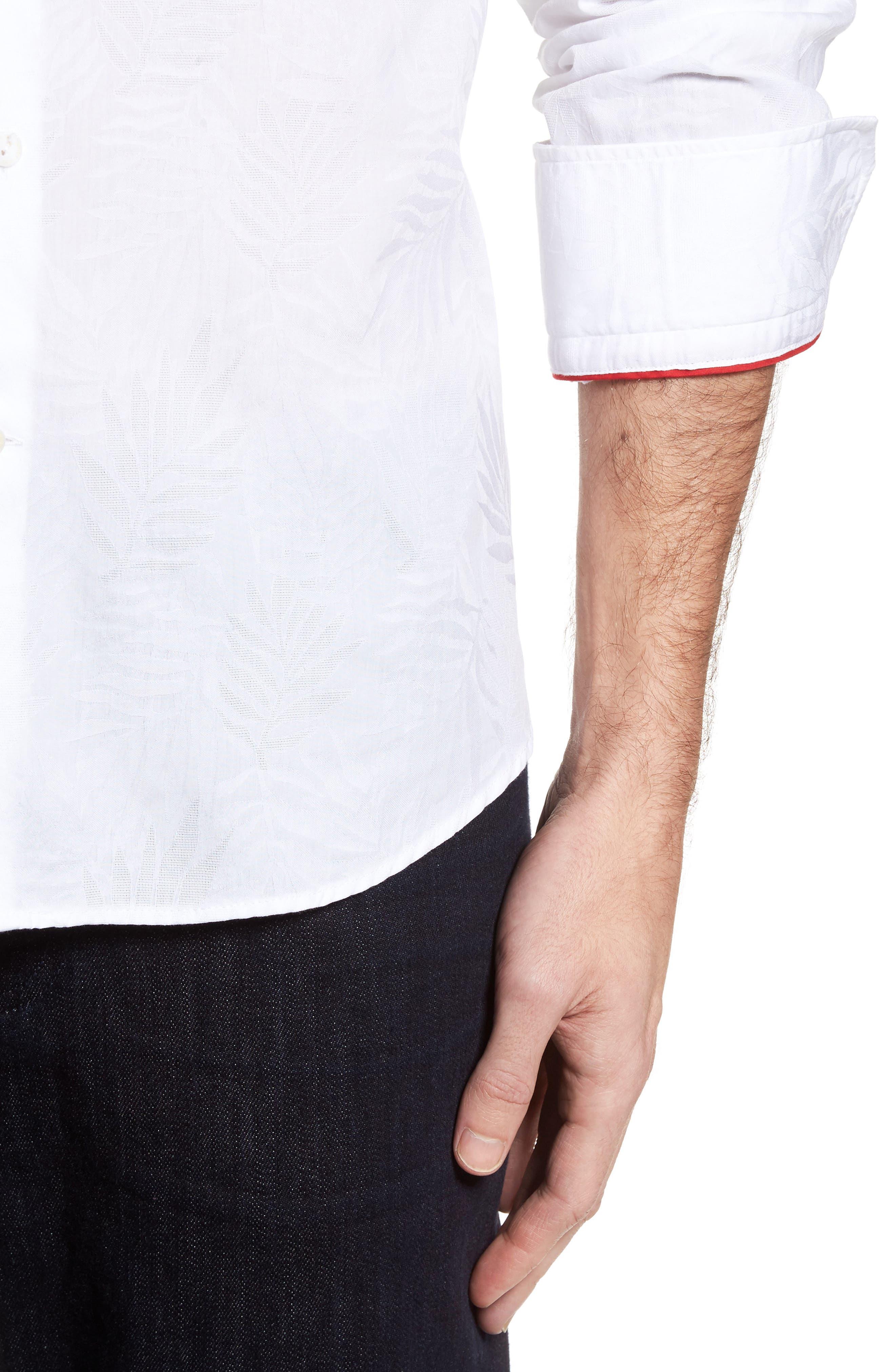 Slim Fit Tonal Leaf Jacquard Sport Shirt,                             Alternate thumbnail 4, color,                             100
