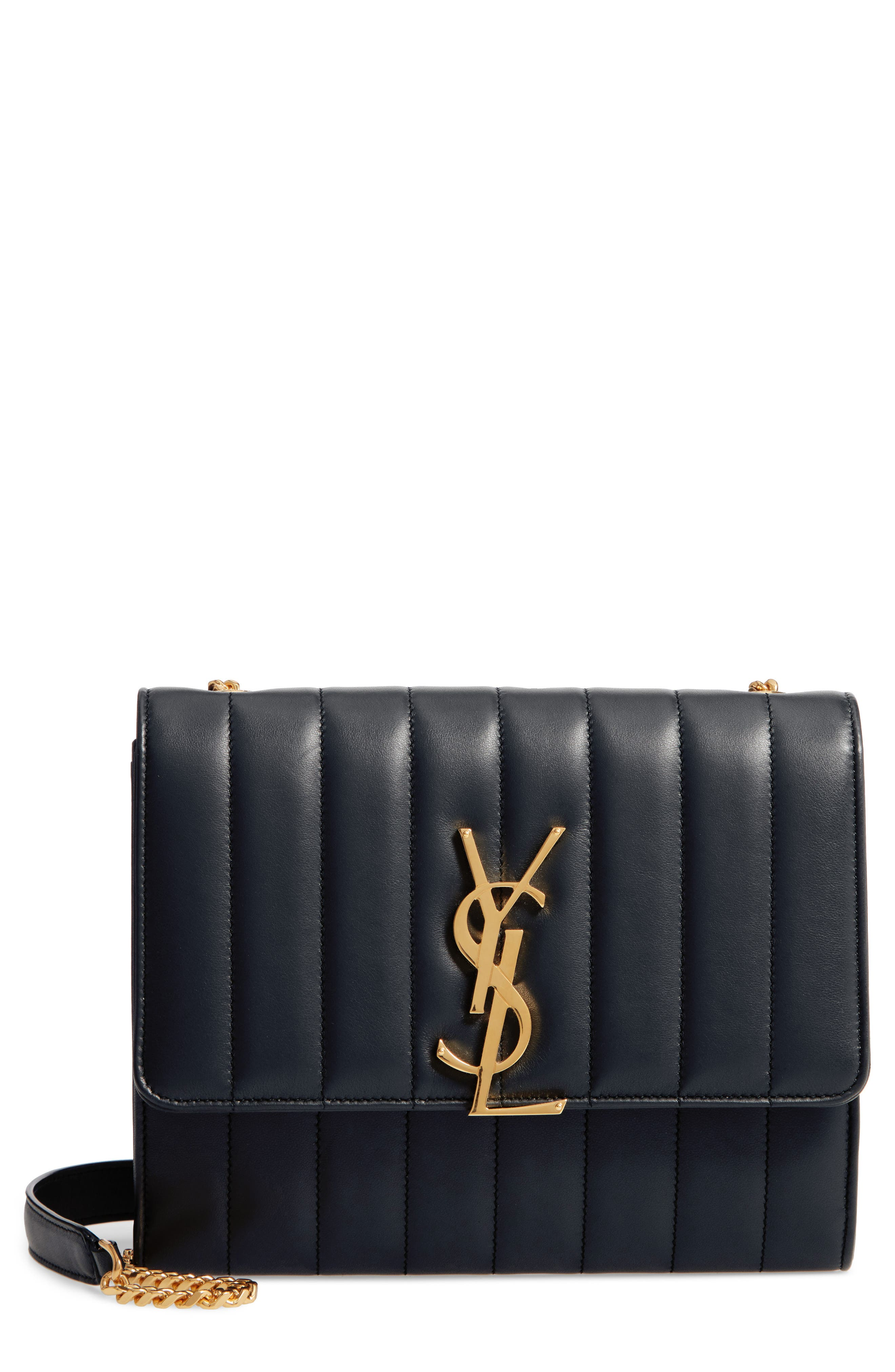Small Vicky Leather Wallet On A Chain by Saint Laurent