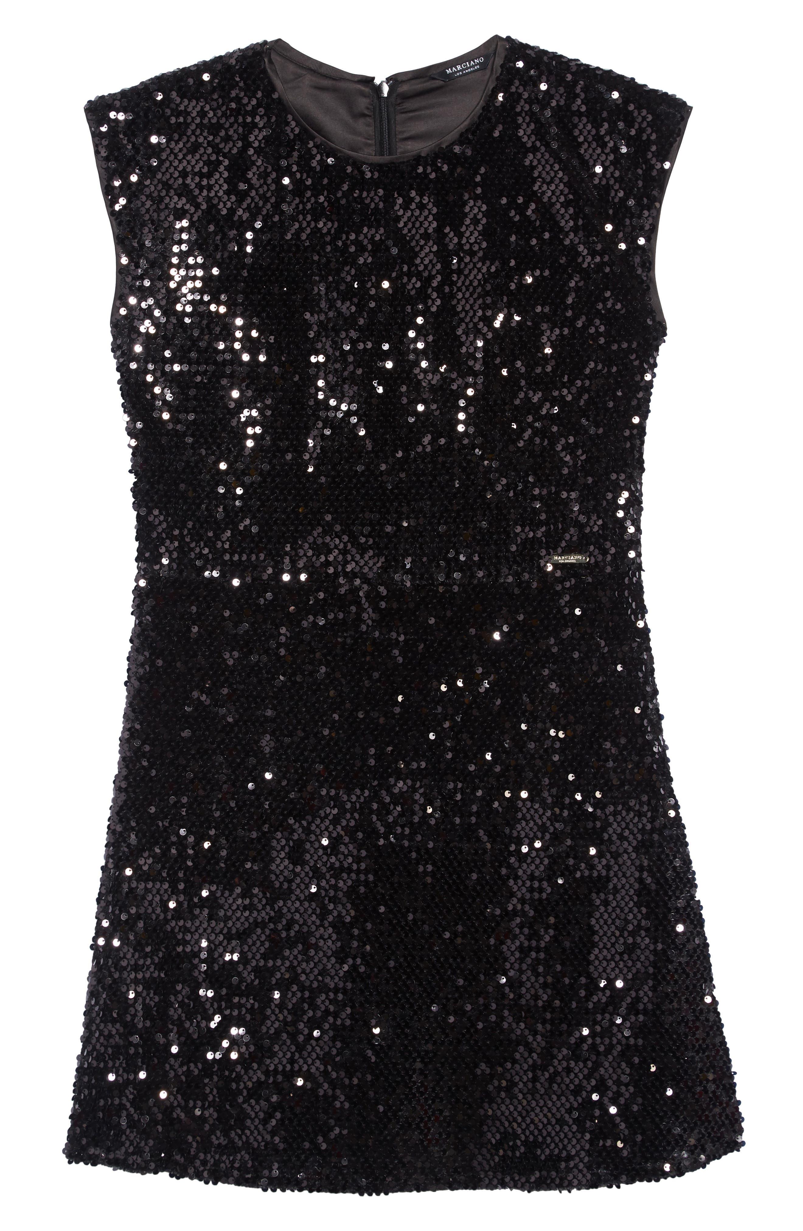 Sequin Skater Dress,                         Main,                         color, 001