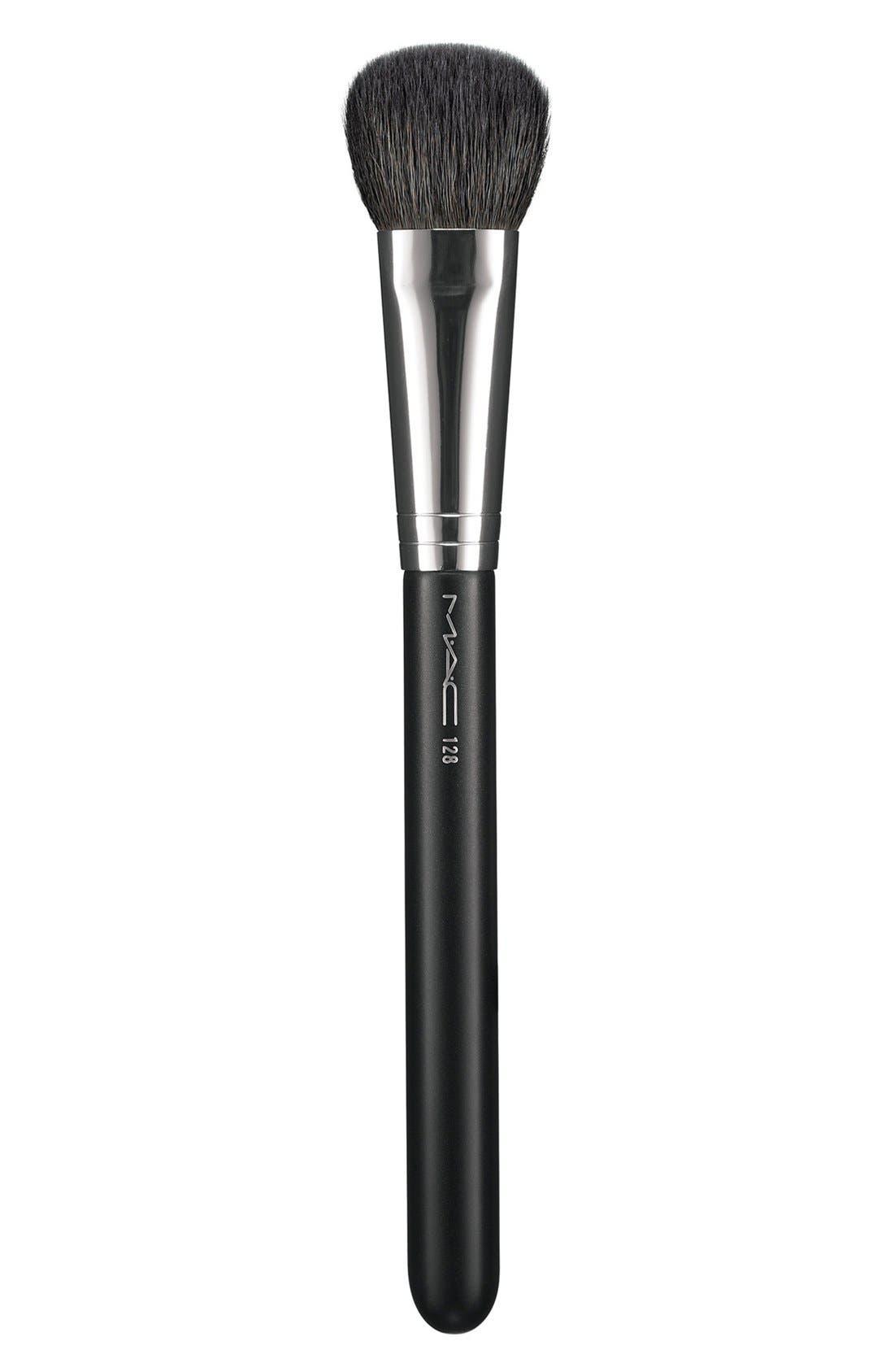 MAC 128 Split Fibre Cheek Brush,                             Main thumbnail 1, color,                             000