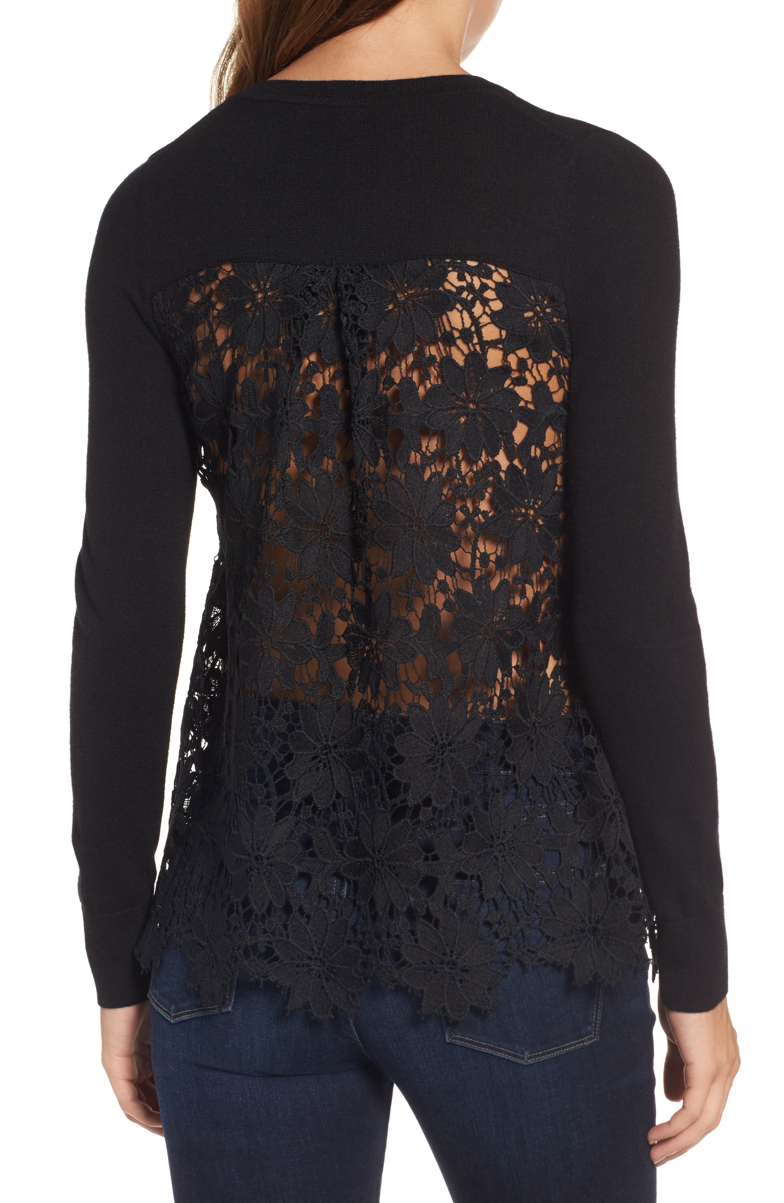 Lace Back Sweater,                             Alternate thumbnail 3, color,                             001