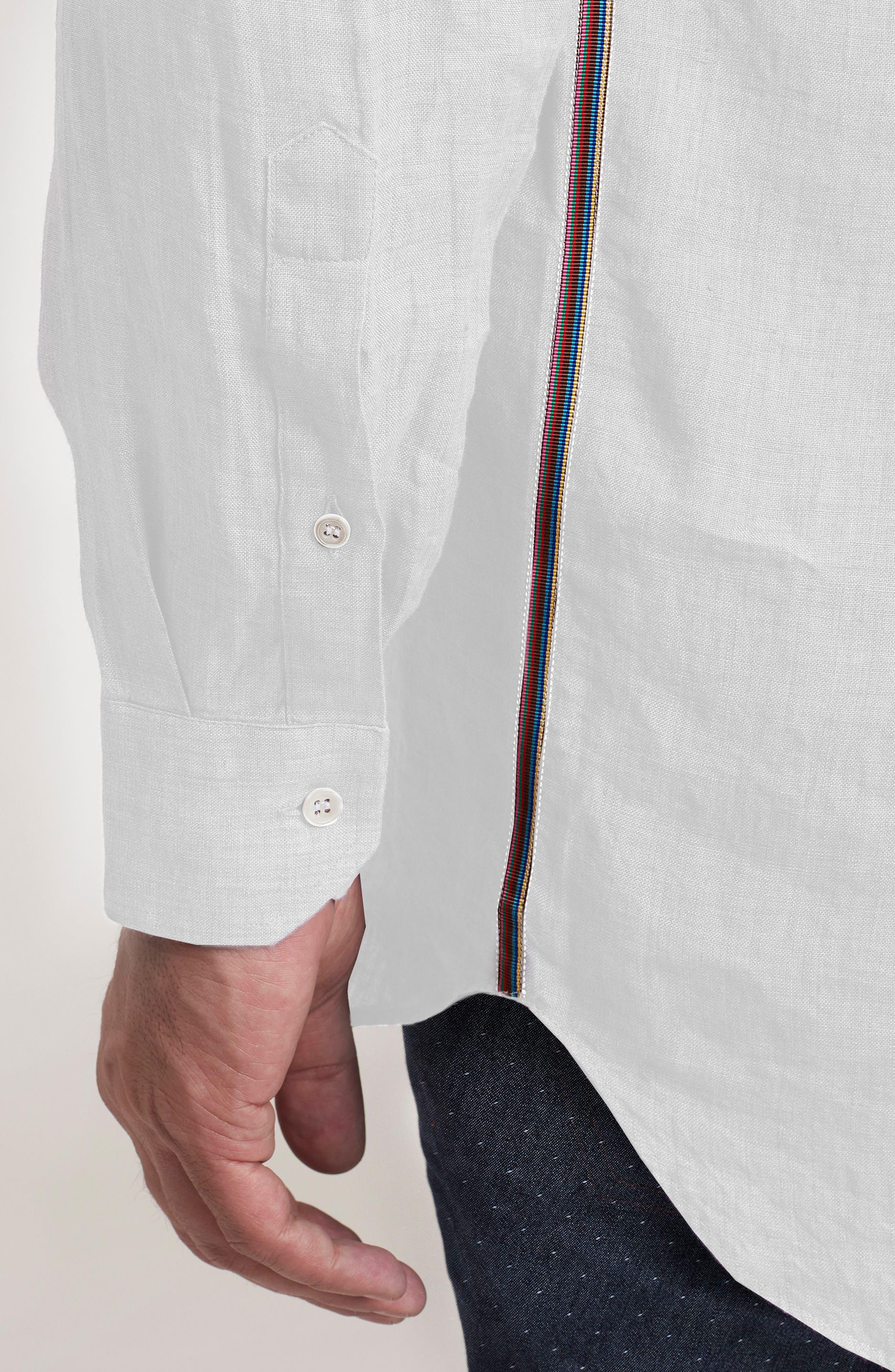 Delave Regular Fit Linen Sport Shirt,                             Alternate thumbnail 5, color,                             100