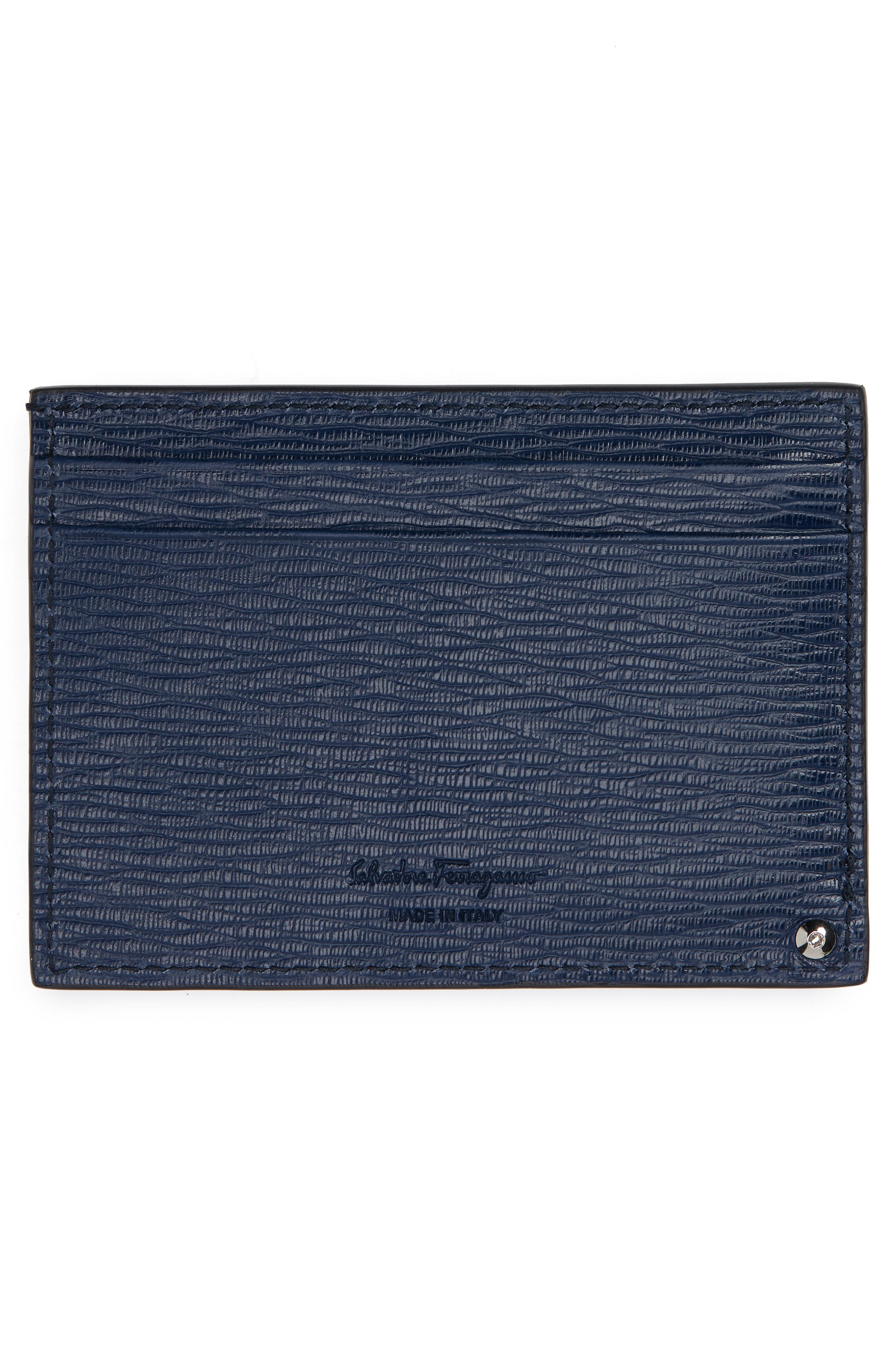Revival Leather Card Case,                             Alternate thumbnail 3, color,                             FJORD BLUE