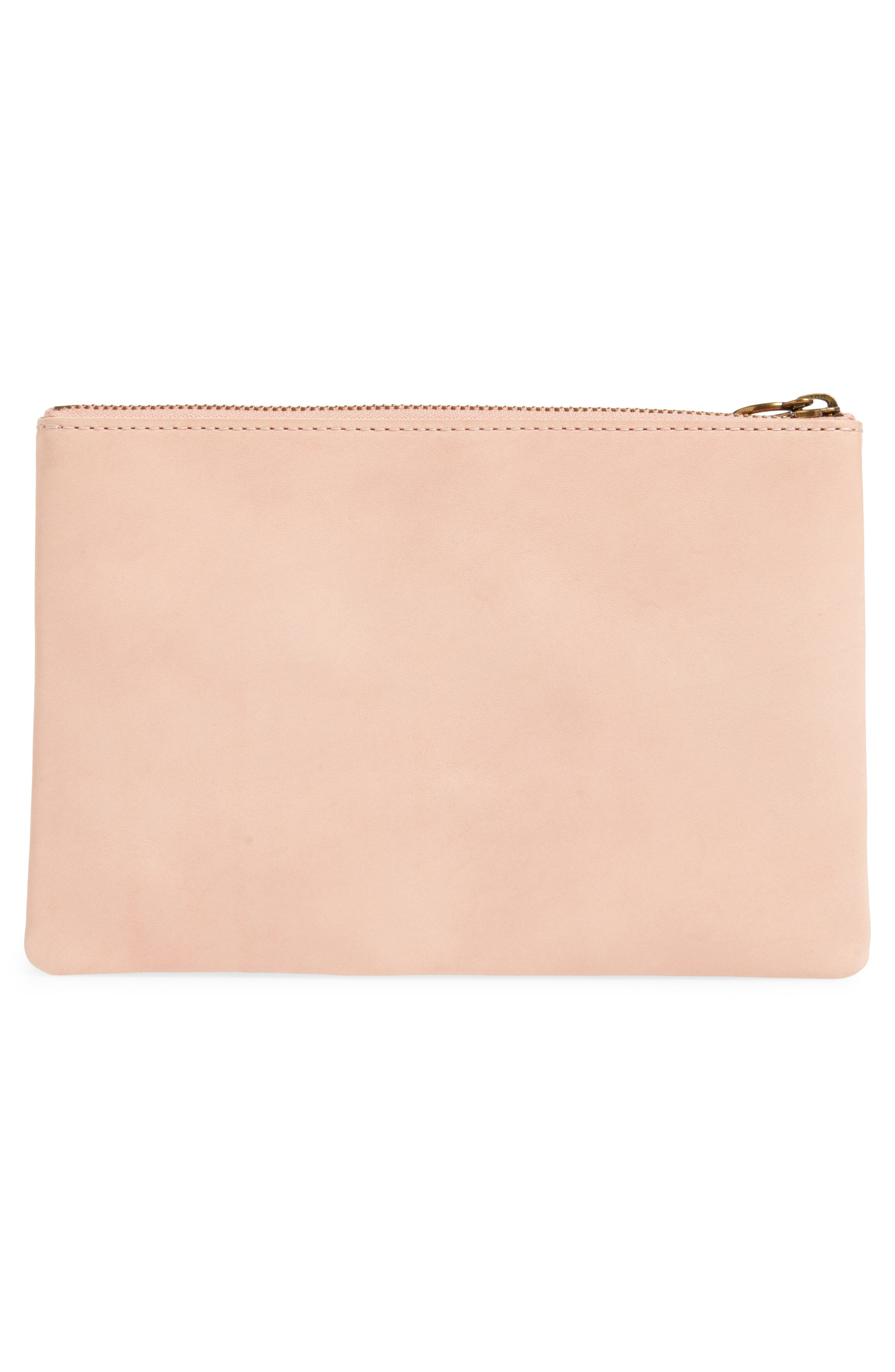 The Leather Pouch Clutch,                             Alternate thumbnail 3, color,                             PETAL PINK