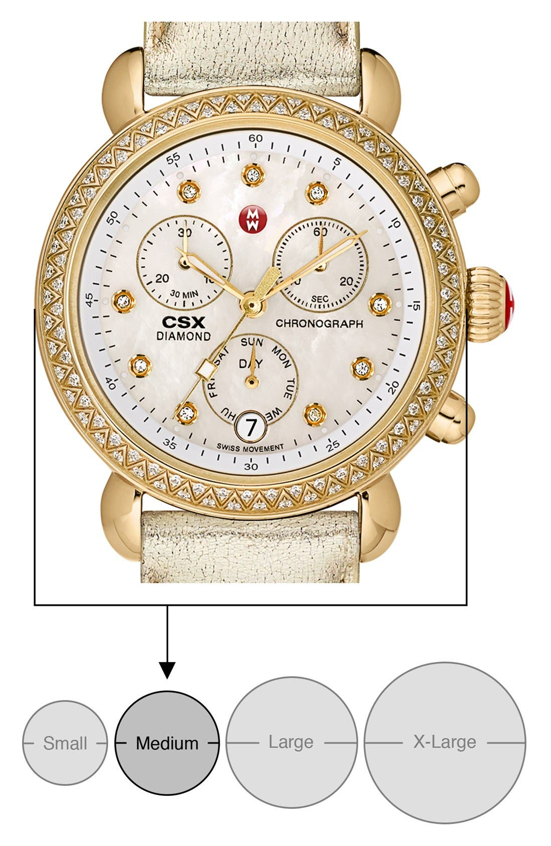 MICHELE,                             'CSX-36 Diamond' Diamond Dial Gold Plated Watch Case, 36mm,                             Alternate thumbnail 5, color,                             710