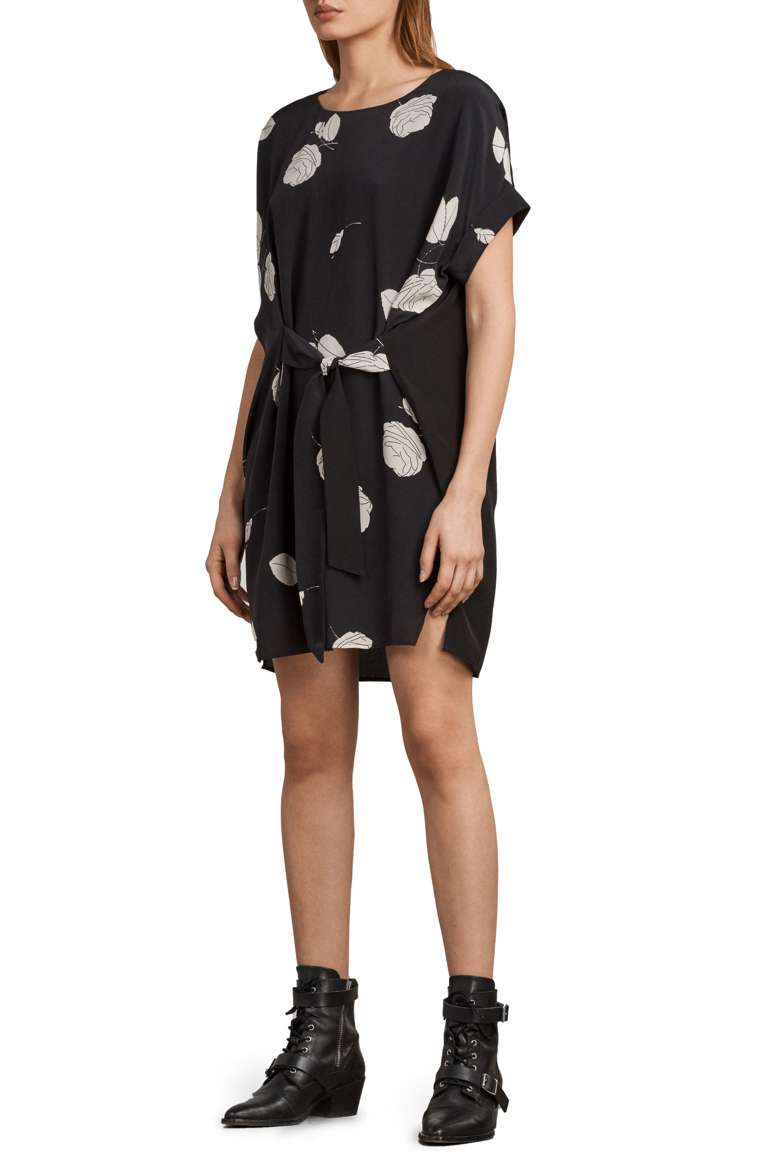 Sonny Rodin Silk Dress,                             Alternate thumbnail 6, color,                             001