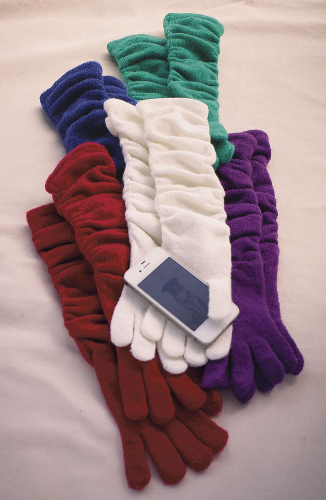 Gathered Tech Gloves,                             Alternate thumbnail 3, color,                             001