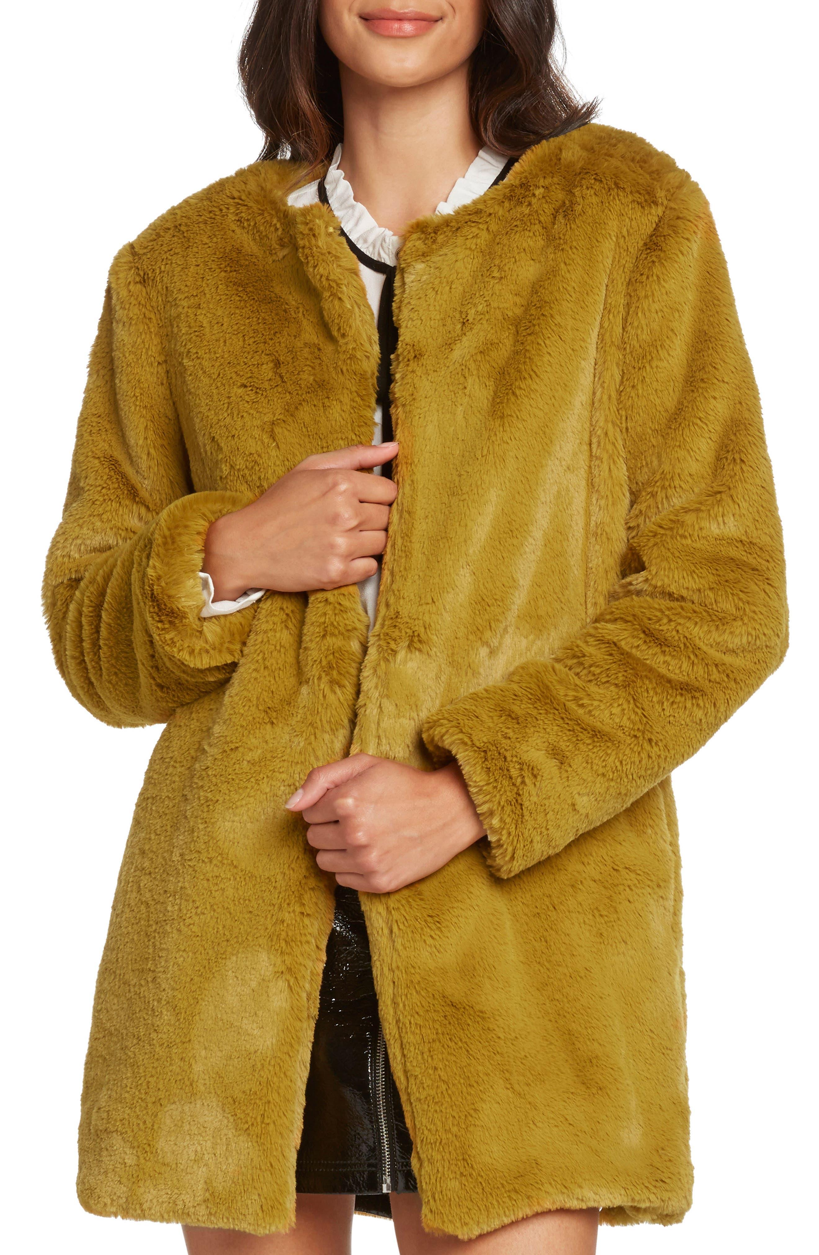 Faux Fur Jacket,                             Main thumbnail 1, color,                             SAFFRON