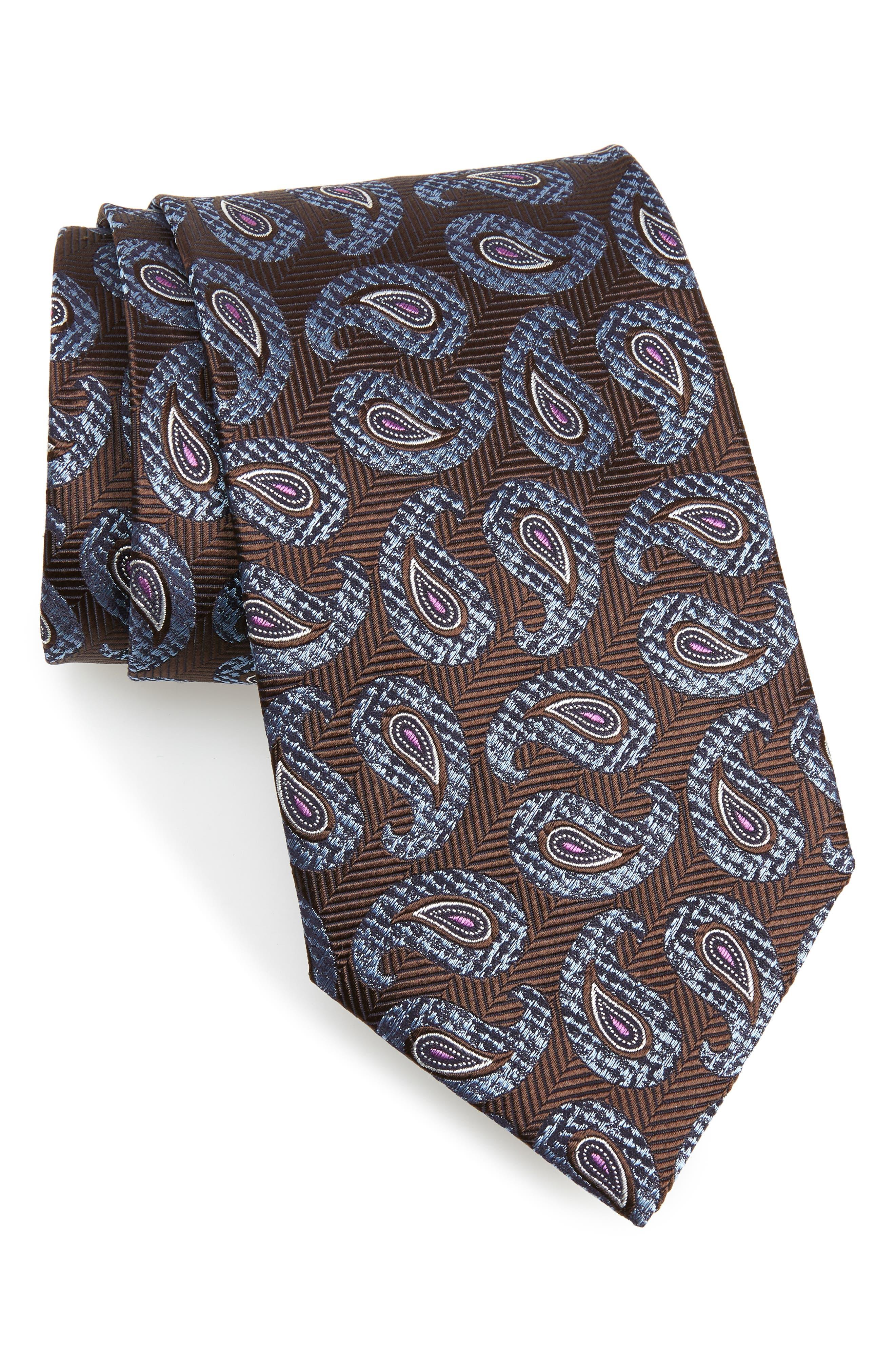 Paisley Silk Tie,                             Main thumbnail 1, color,                             BURGUNDY