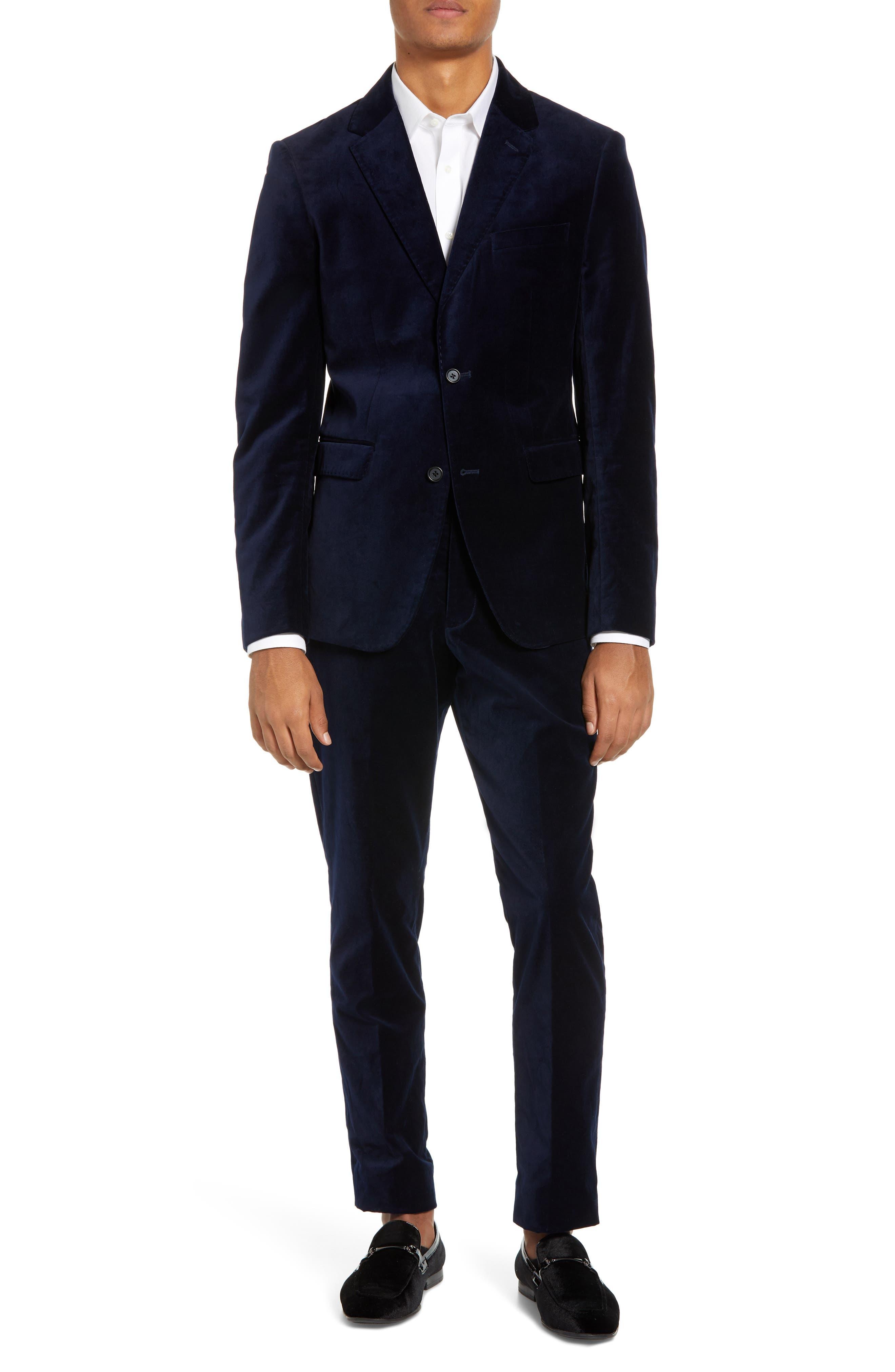 FRENCH CONNECTION,                             Regular Fit Plush Velveteen Blazer,                             Alternate thumbnail 7, color,                             BLUE BLOOD