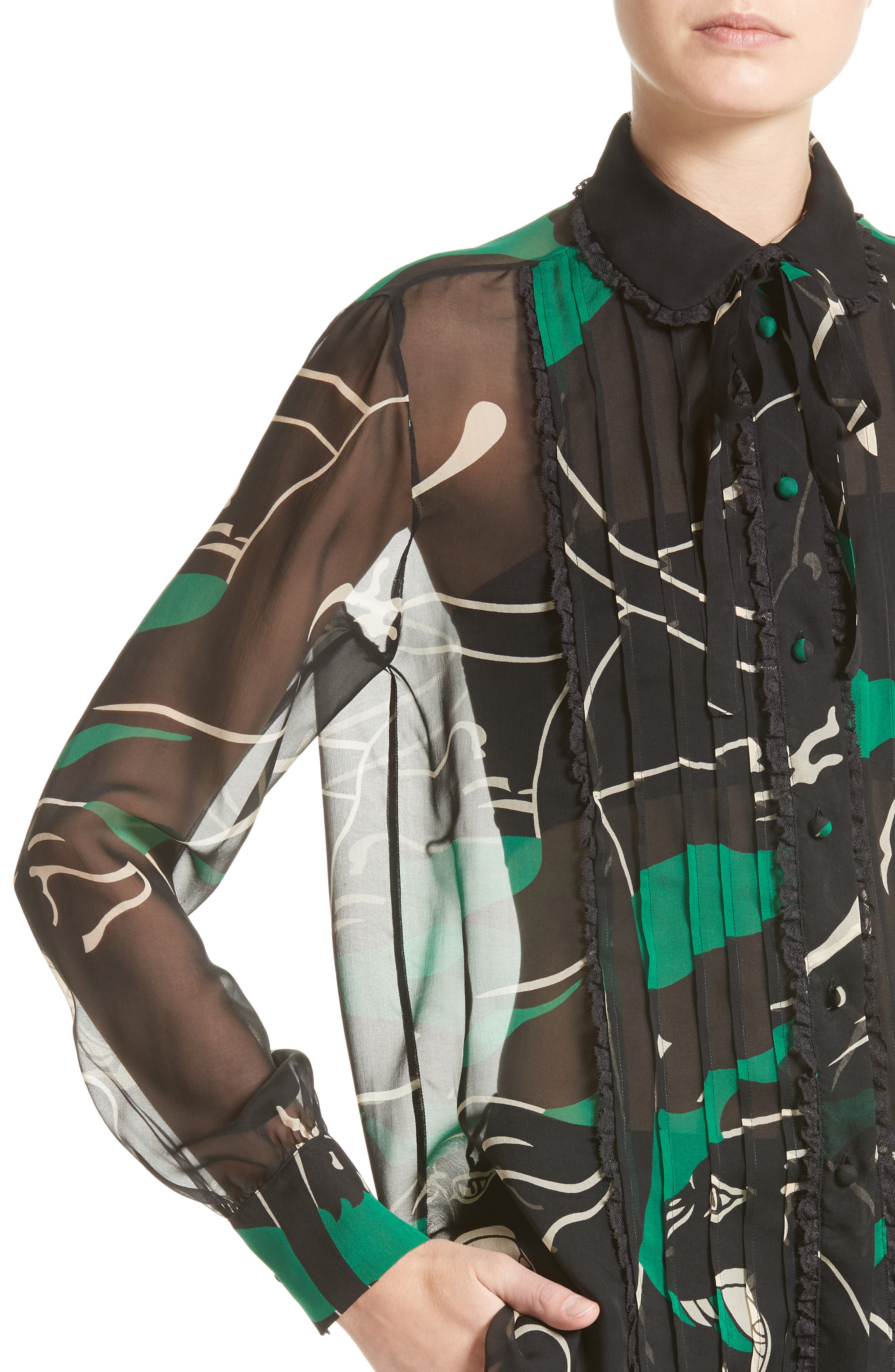 Panther Print Silk Chiffon Blouse,                             Alternate thumbnail 4, color,                             001