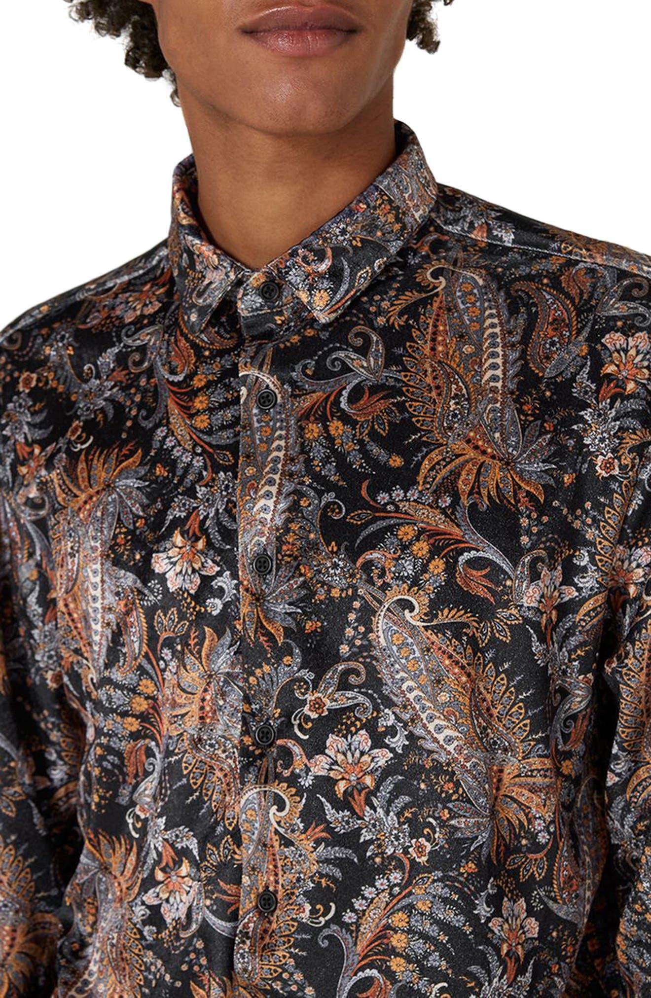 Classic Fit Paisley Velvet Shirt,                             Alternate thumbnail 3, color,                             001