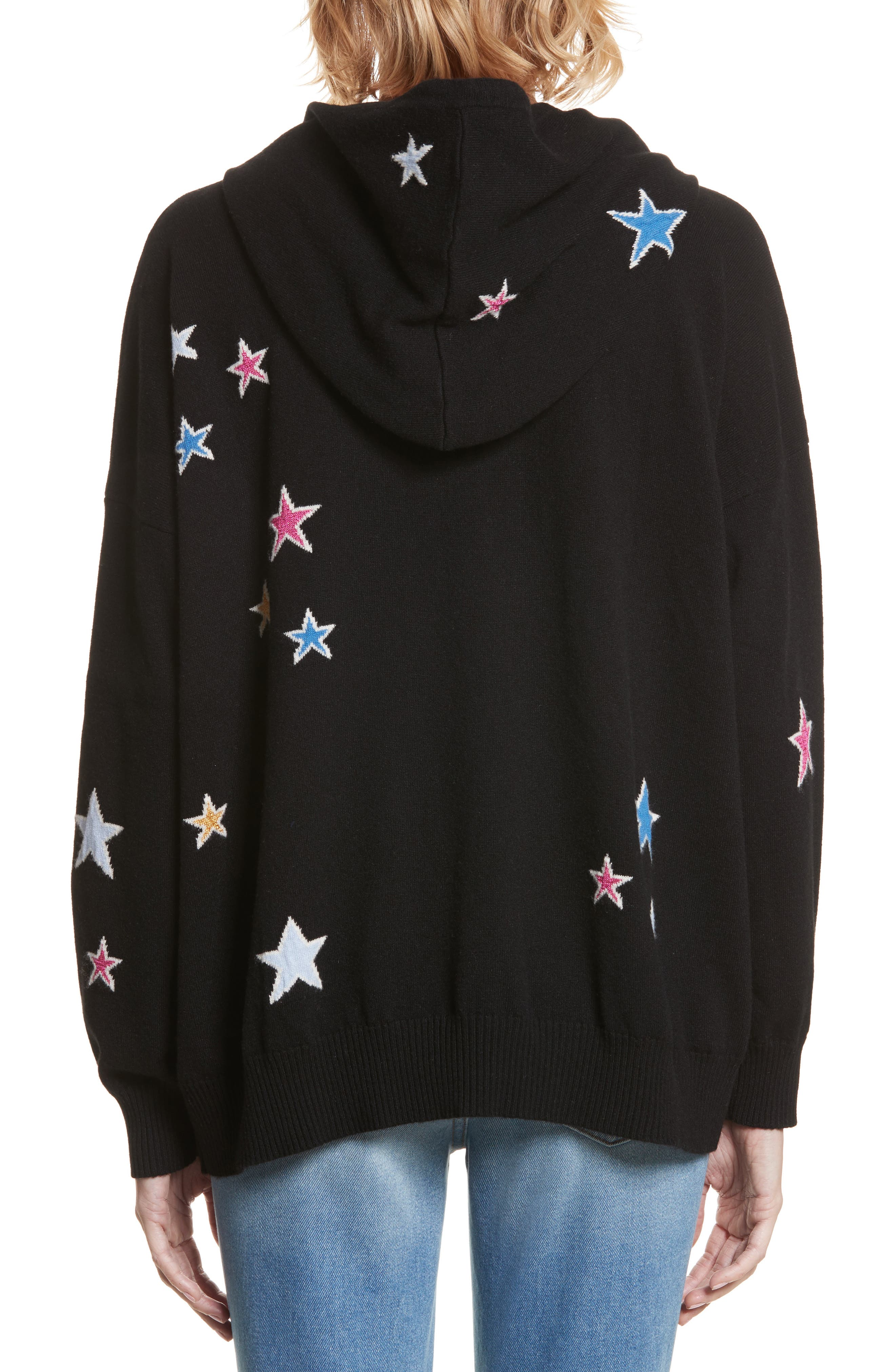 CHINTI & PARKER Acid Star Knit Cashmere Hoodie,                             Alternate thumbnail 2, color,                             001