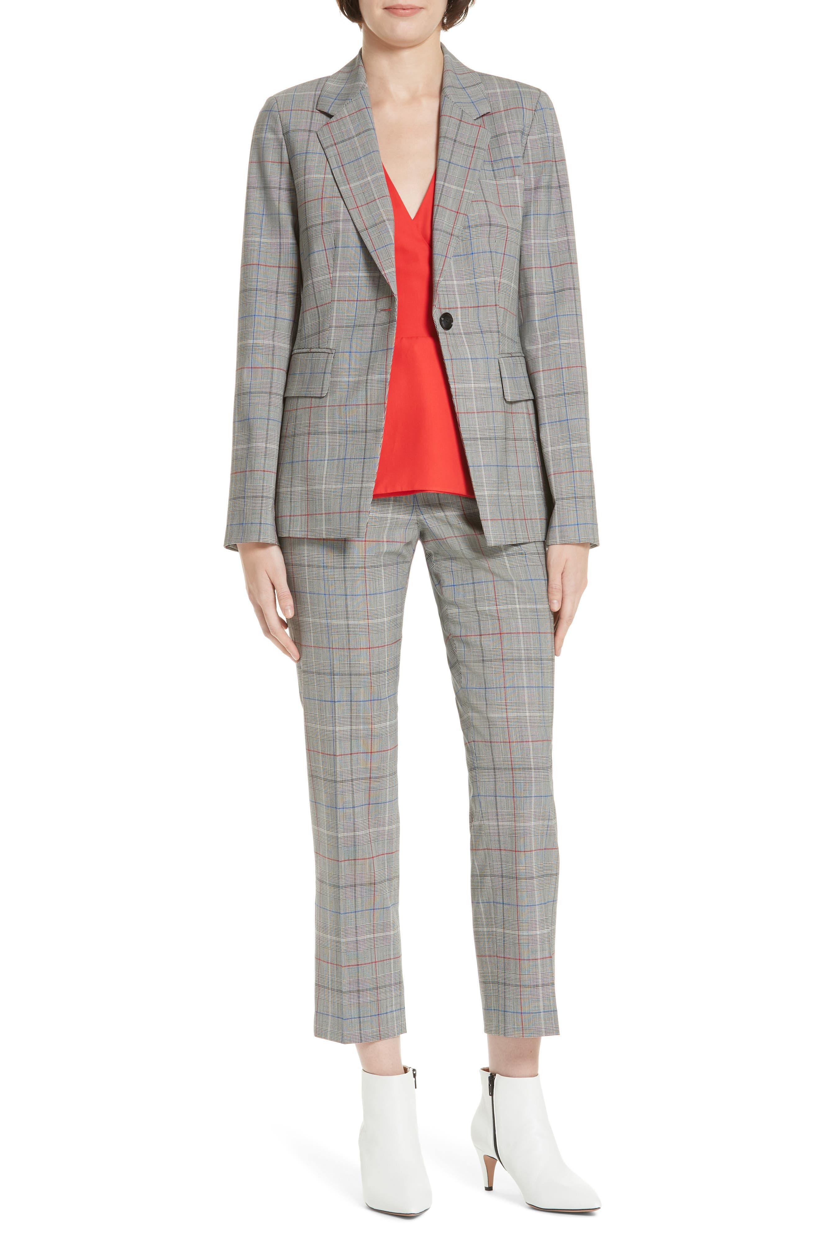 LEWIT,                             Check Stretch Wool Blazer,                             Alternate thumbnail 7, color,                             001