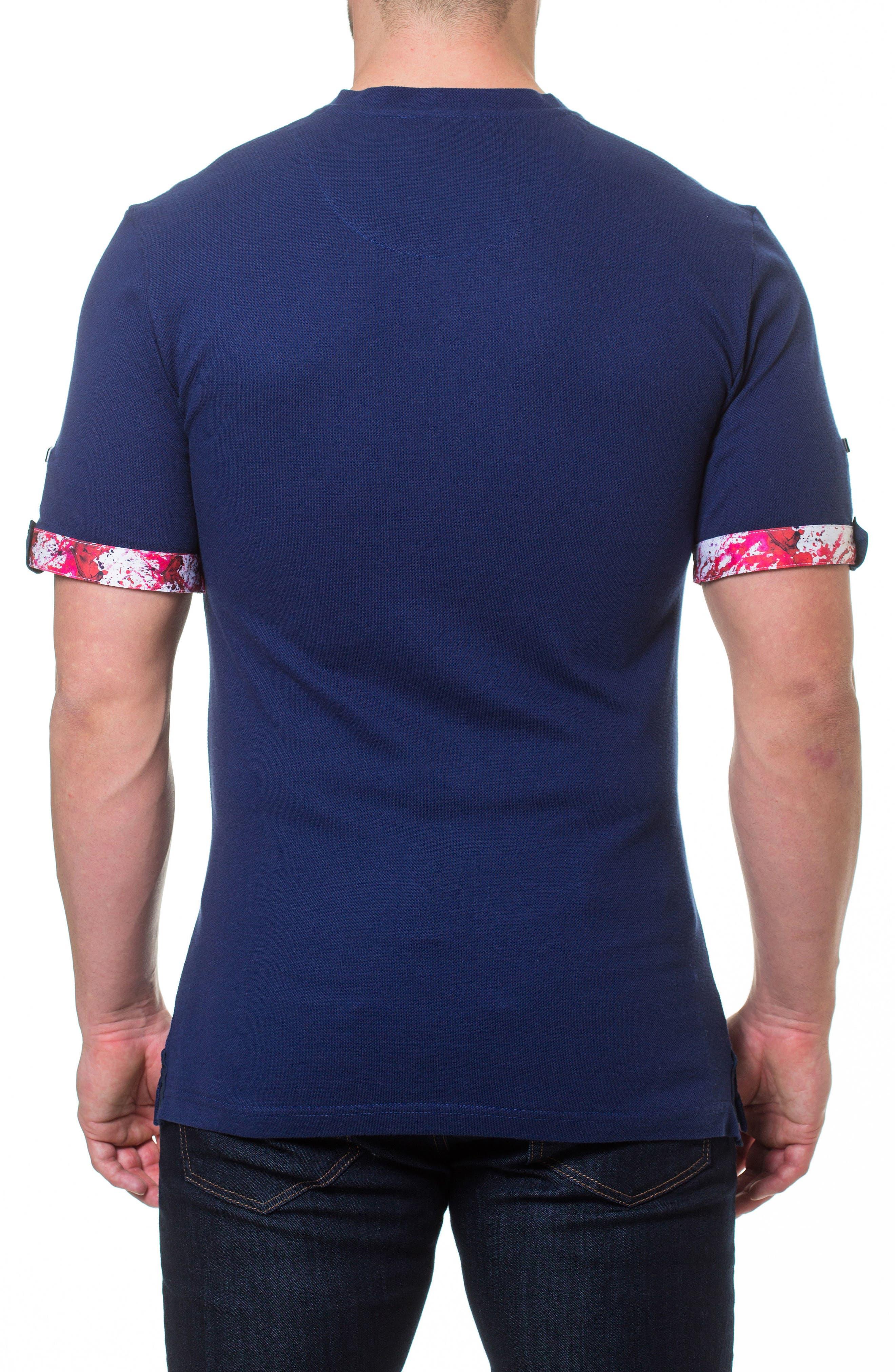 Short Sleeve V-Neck Piqué T-Shirt,                             Alternate thumbnail 2, color,                             BLUE