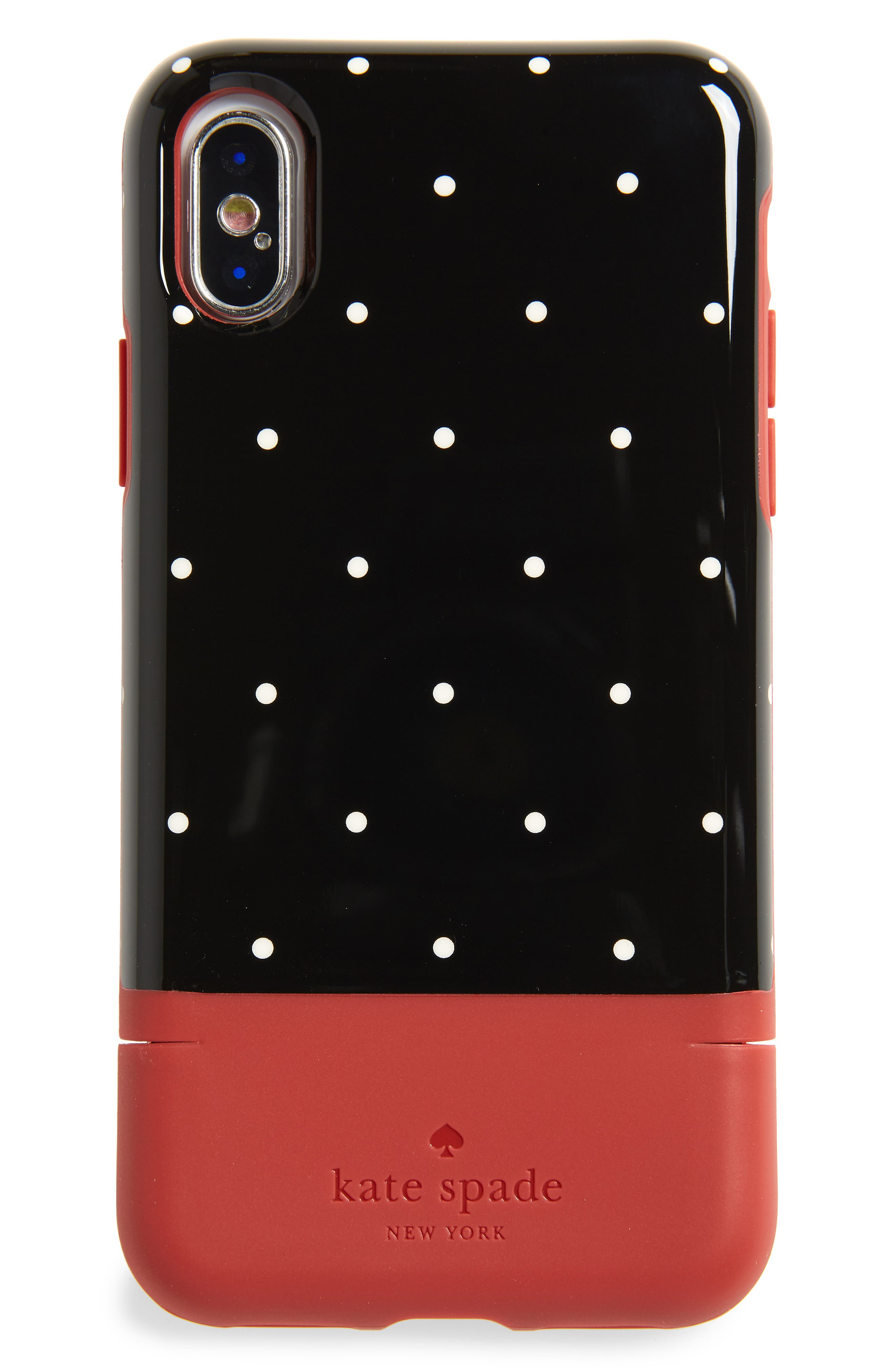 dot iPhone X/Xs case & card holder,                             Main thumbnail 1, color,                             HEIRLOOM RED