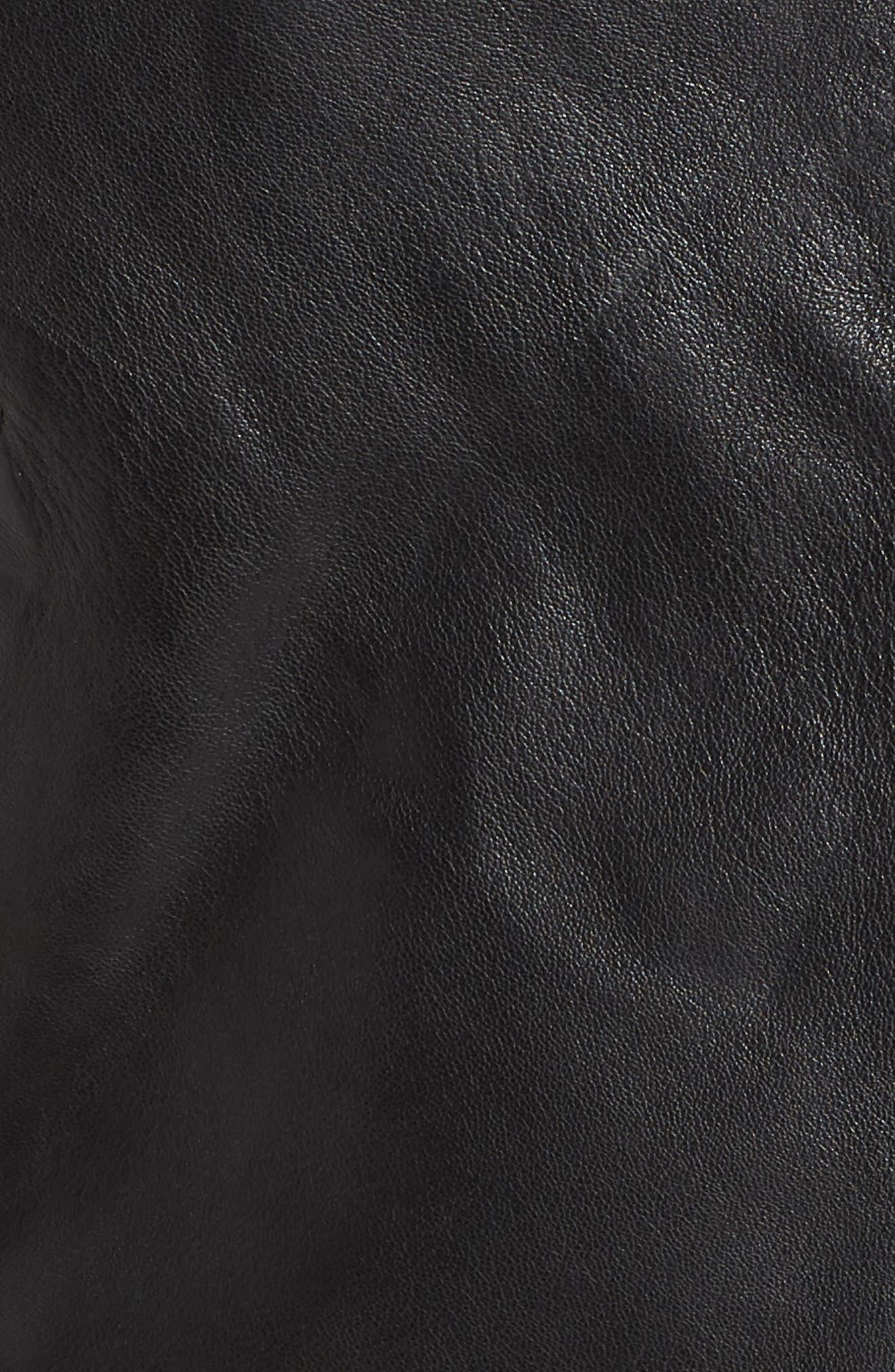 Lambskin Leather Moto Jacket,                             Alternate thumbnail 7, color,                             BLACK