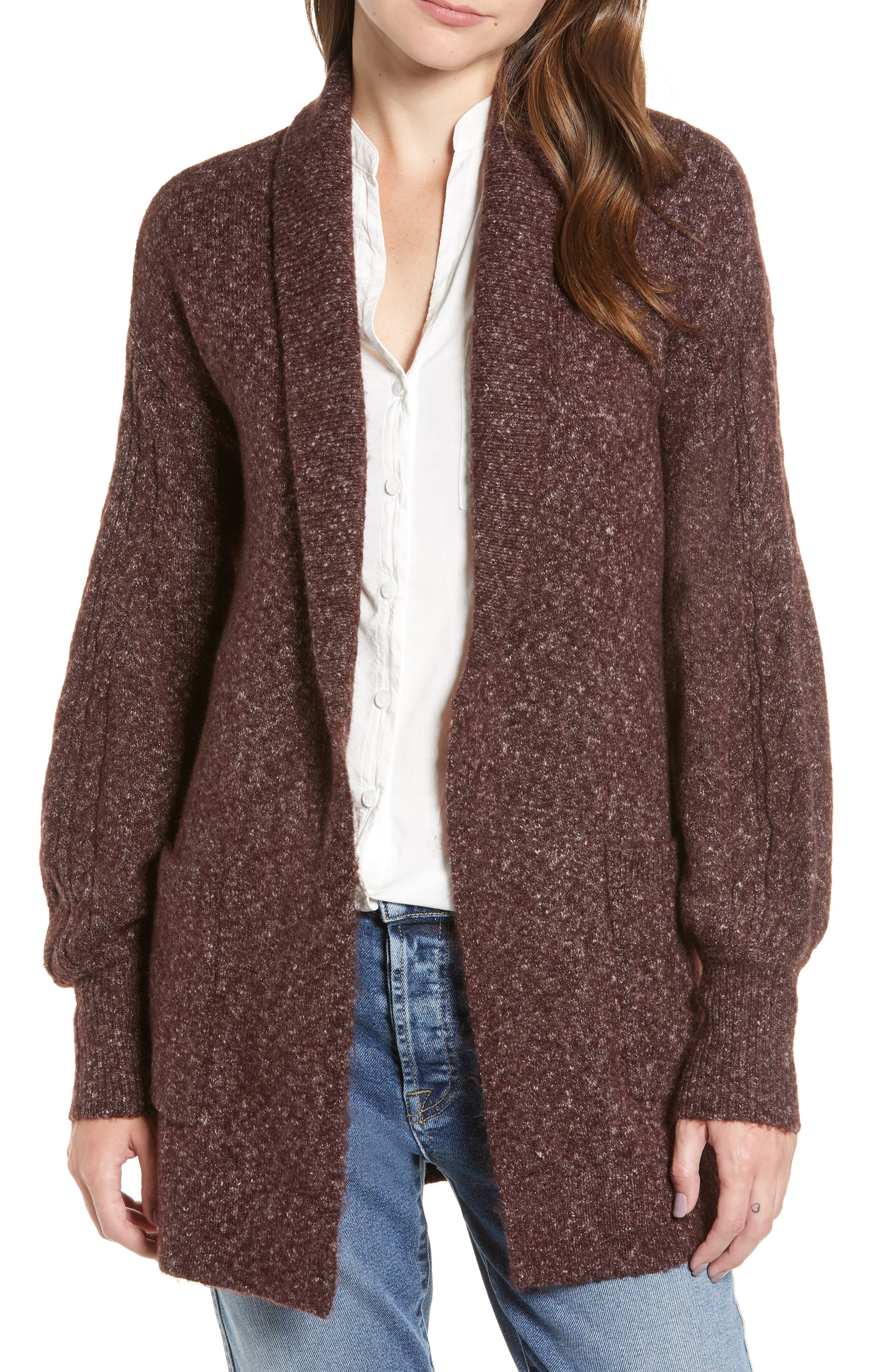 Longline Cardigan,                         Main,                         color, BURGUNDY FUDGE