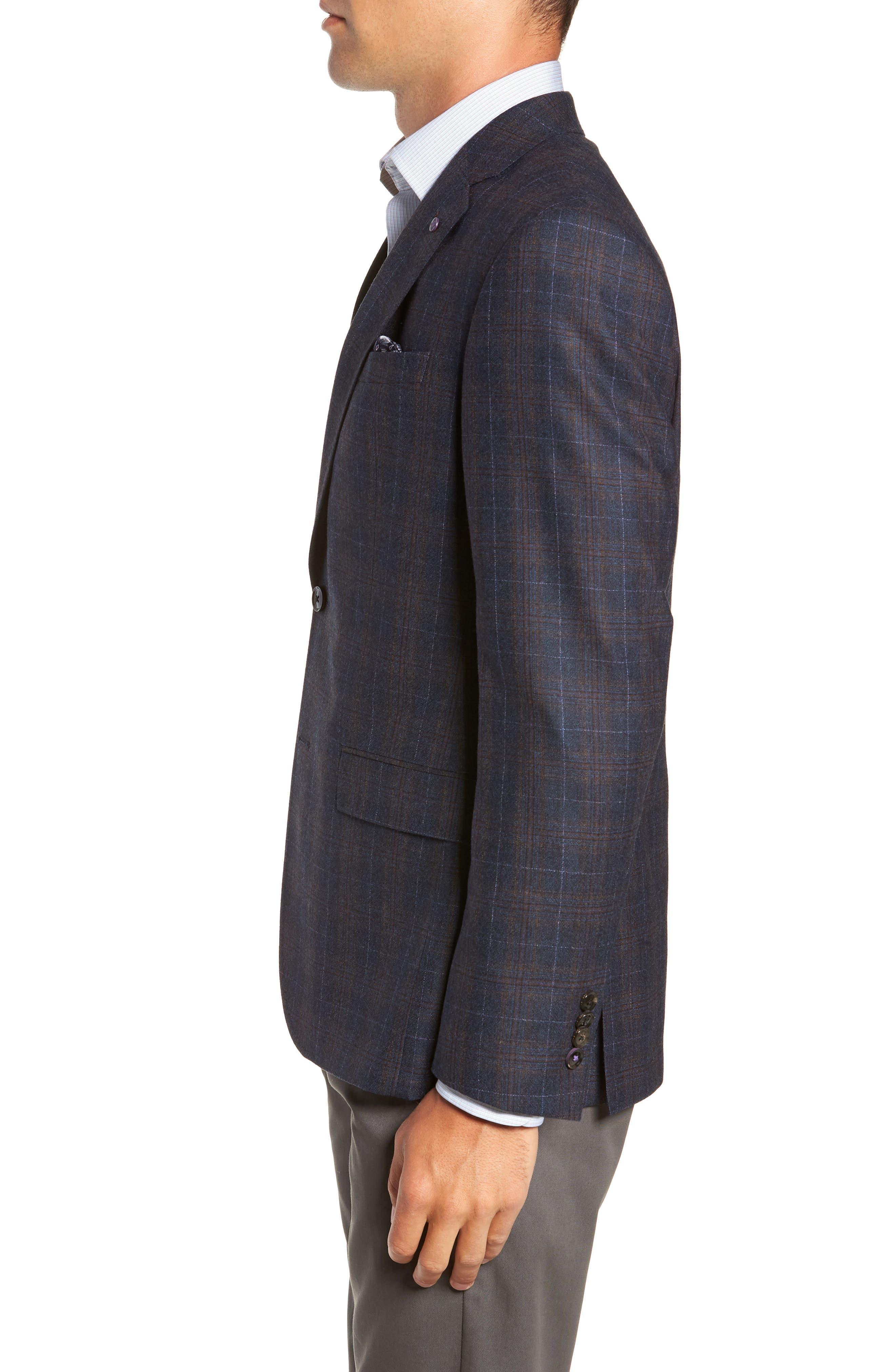 Jay 2B Trim Fit Plaid Wool Sport Coat,                             Alternate thumbnail 3, color,                             BLUE PLAID