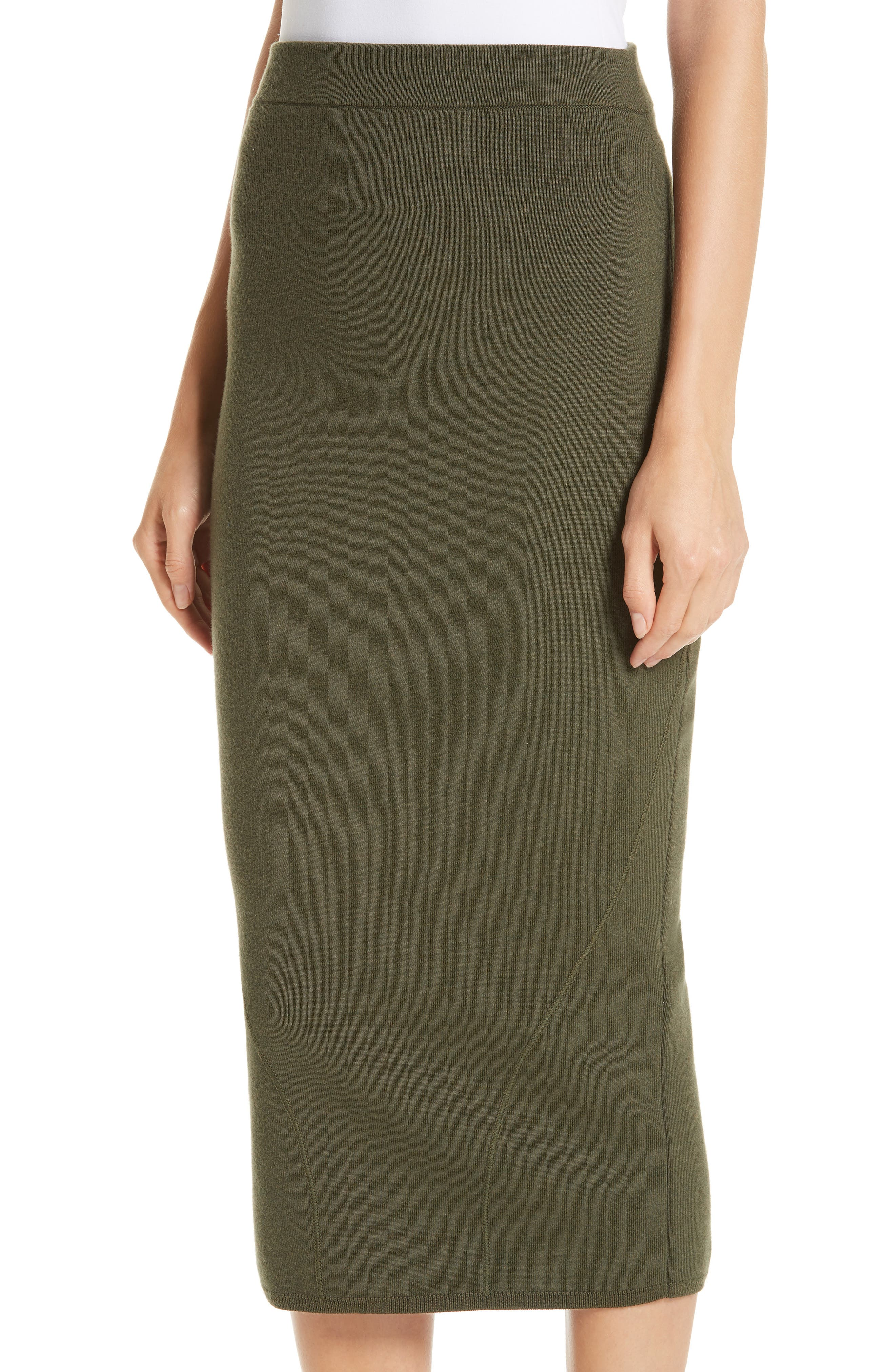 Fitted Knit Skirt,                             Alternate thumbnail 4, color,                             GREEN
