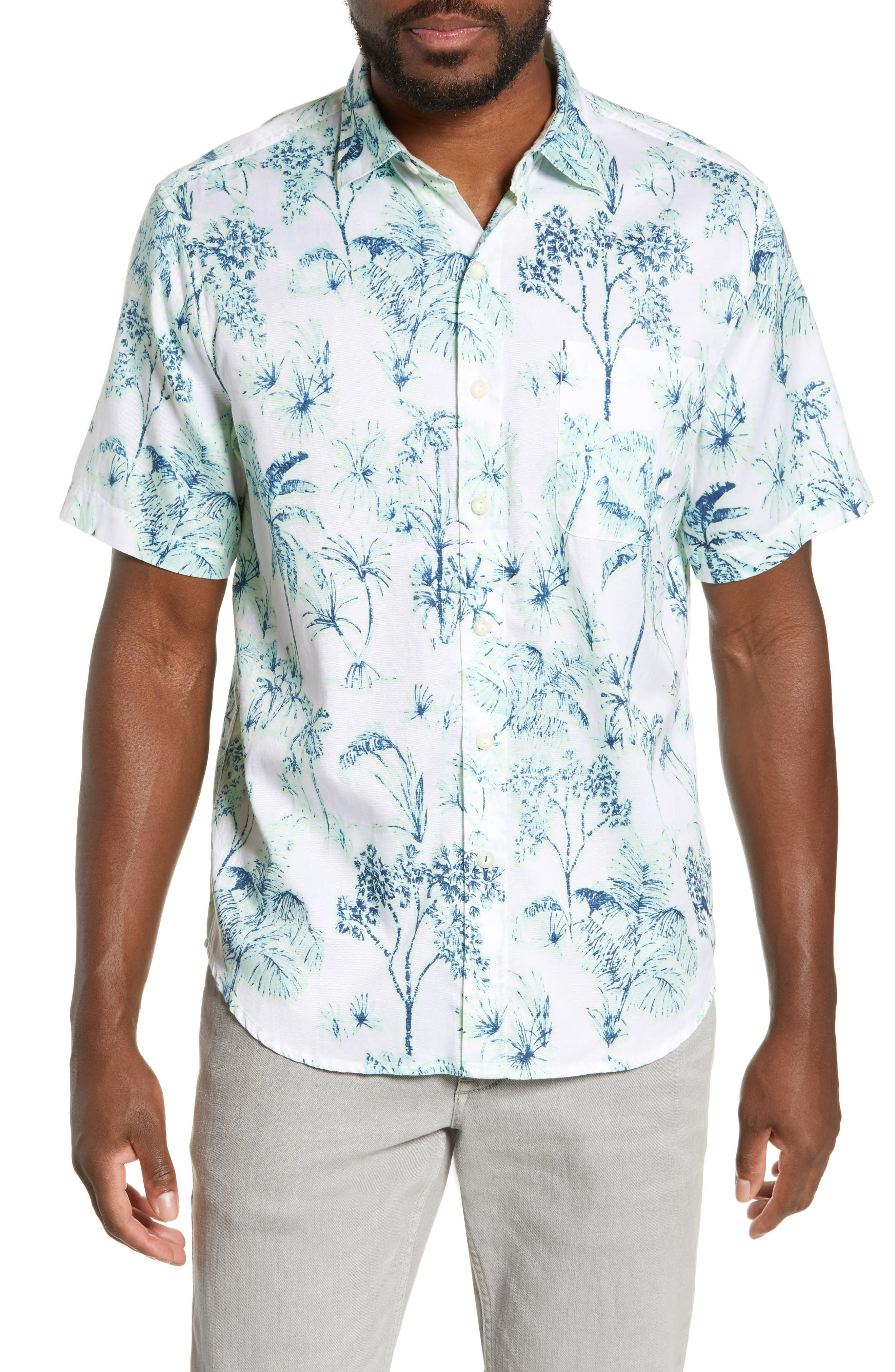 Tropic Mist Woven Shirt, Main, color, GLOWING GREEN