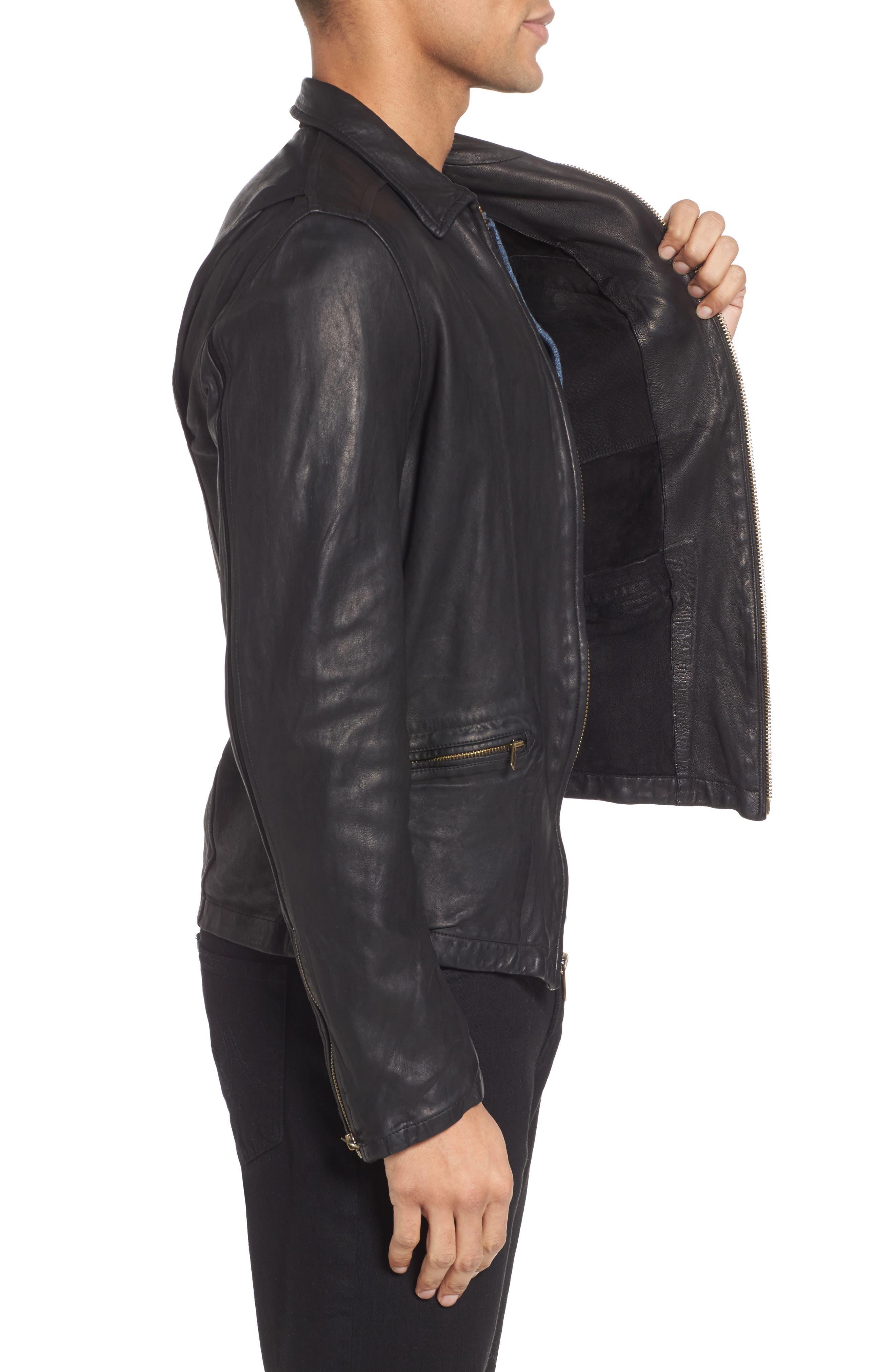 Blake Leather Jacket,                             Alternate thumbnail 3, color,                             BLACK