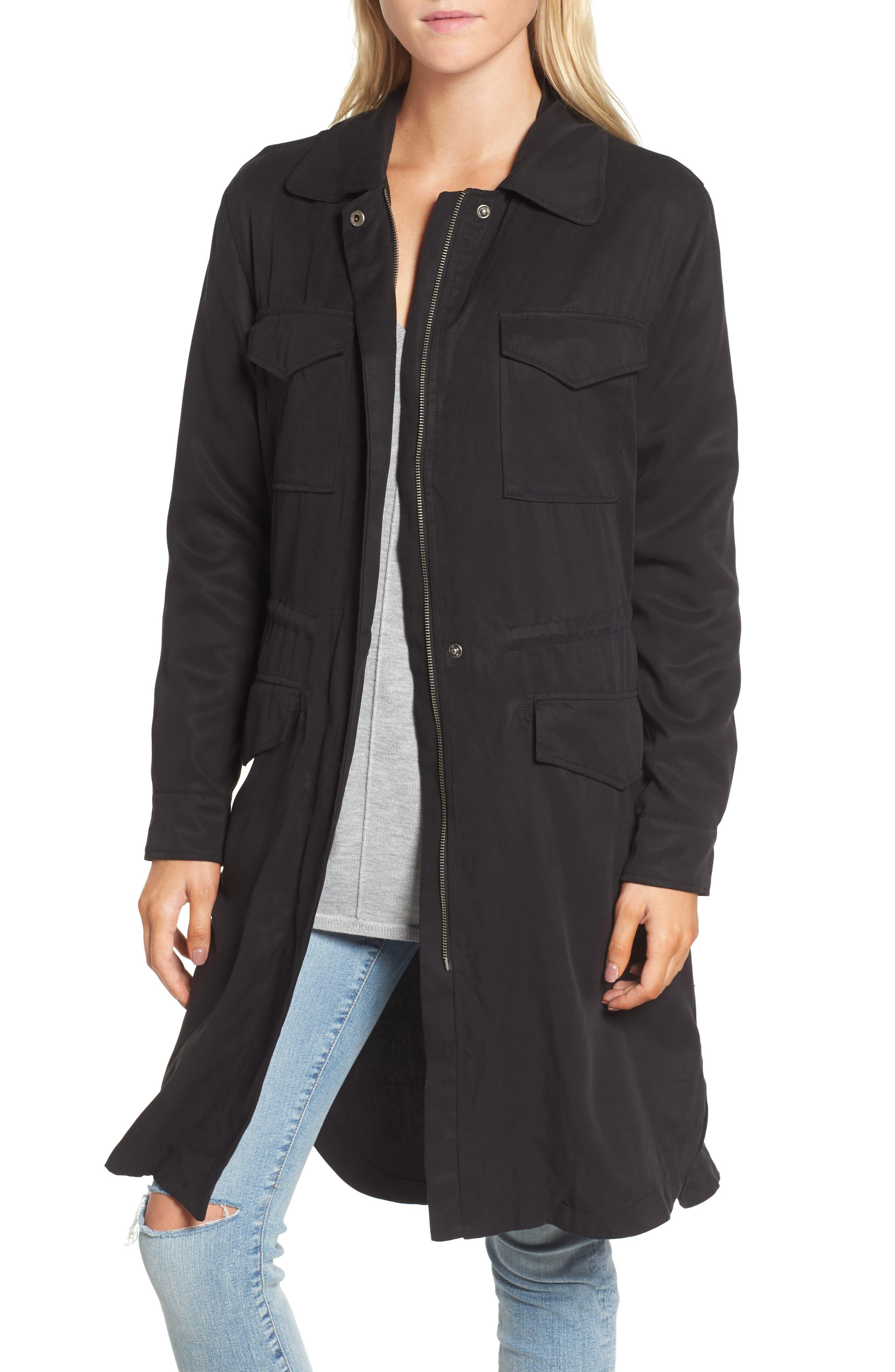 Walsh Tencel<sup>®</sup> Coat with Detachable Hooded Faux Fur Vest,                             Alternate thumbnail 4, color,                             001