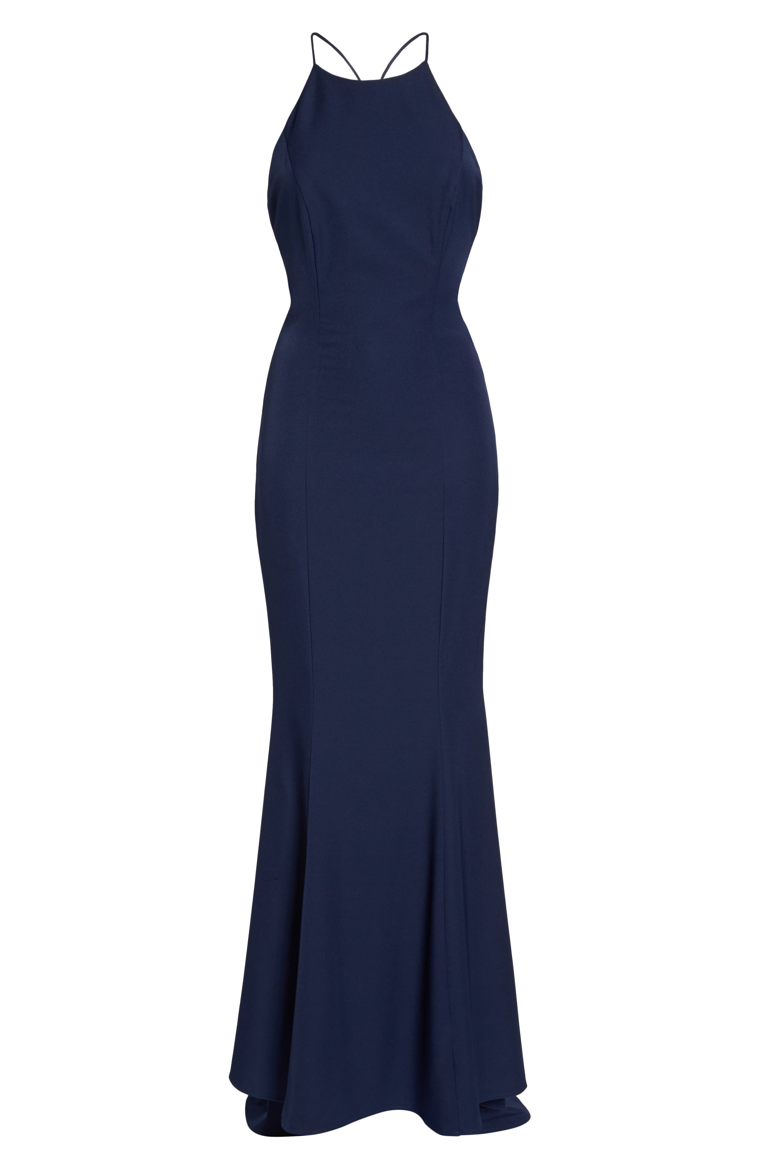 Zoe Ruffle Back Gown,                             Alternate thumbnail 6, color,                             NAVY