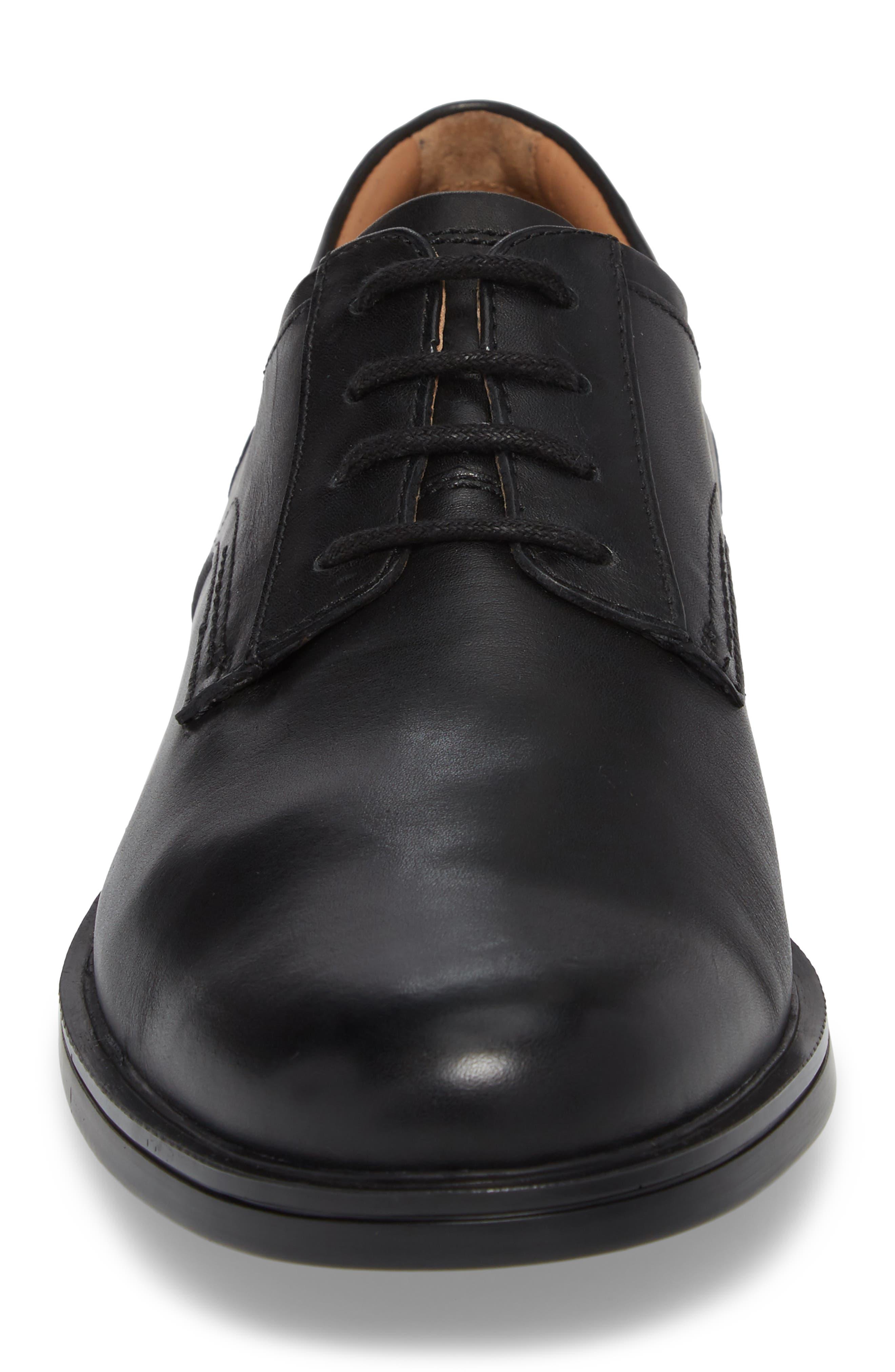 Unaldric Plain Toe Derby,                             Alternate thumbnail 4, color,                             BLACK LEATHER