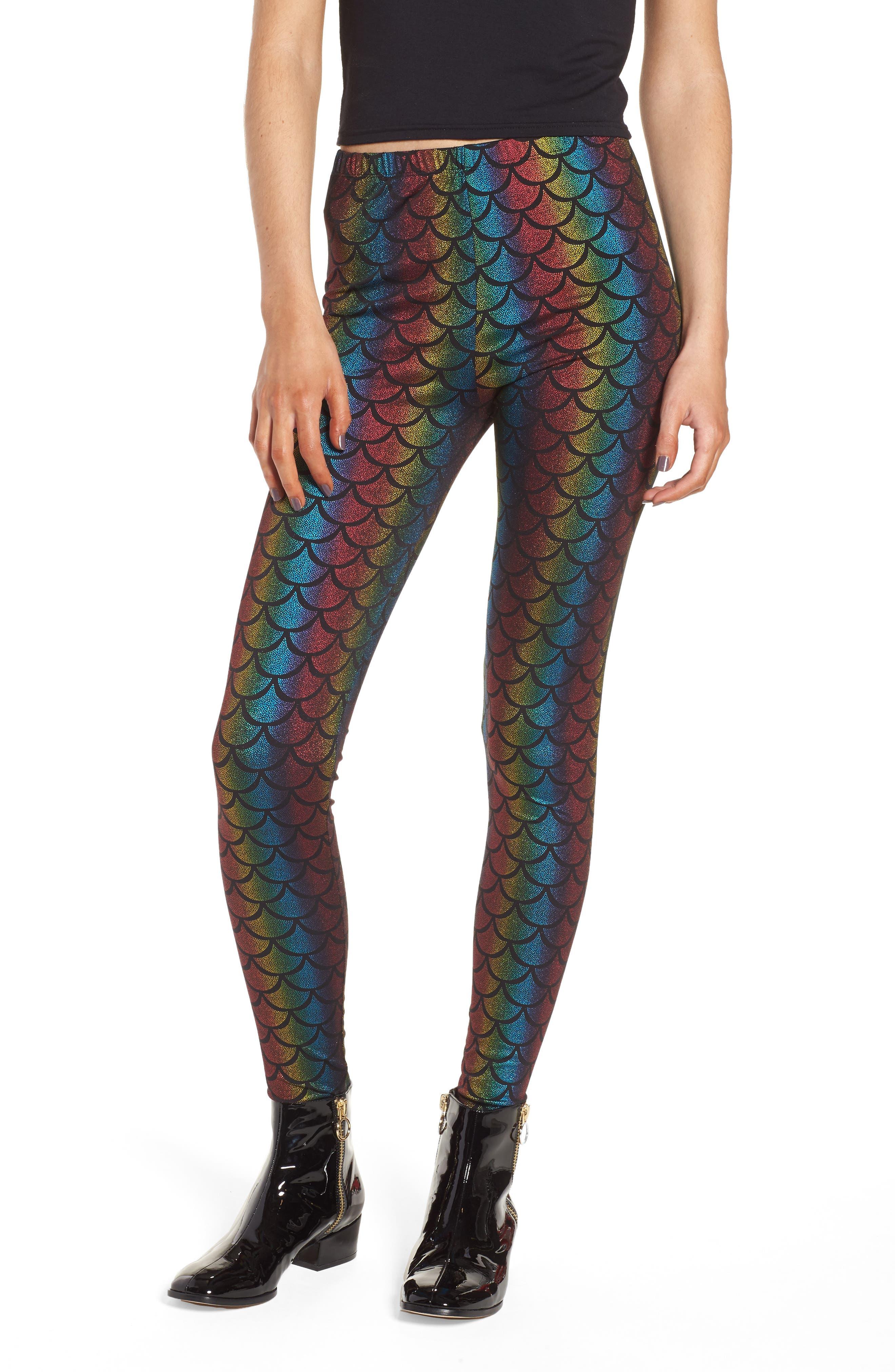 Rainbow Mermaid Leggings,                             Main thumbnail 1, color,                             001