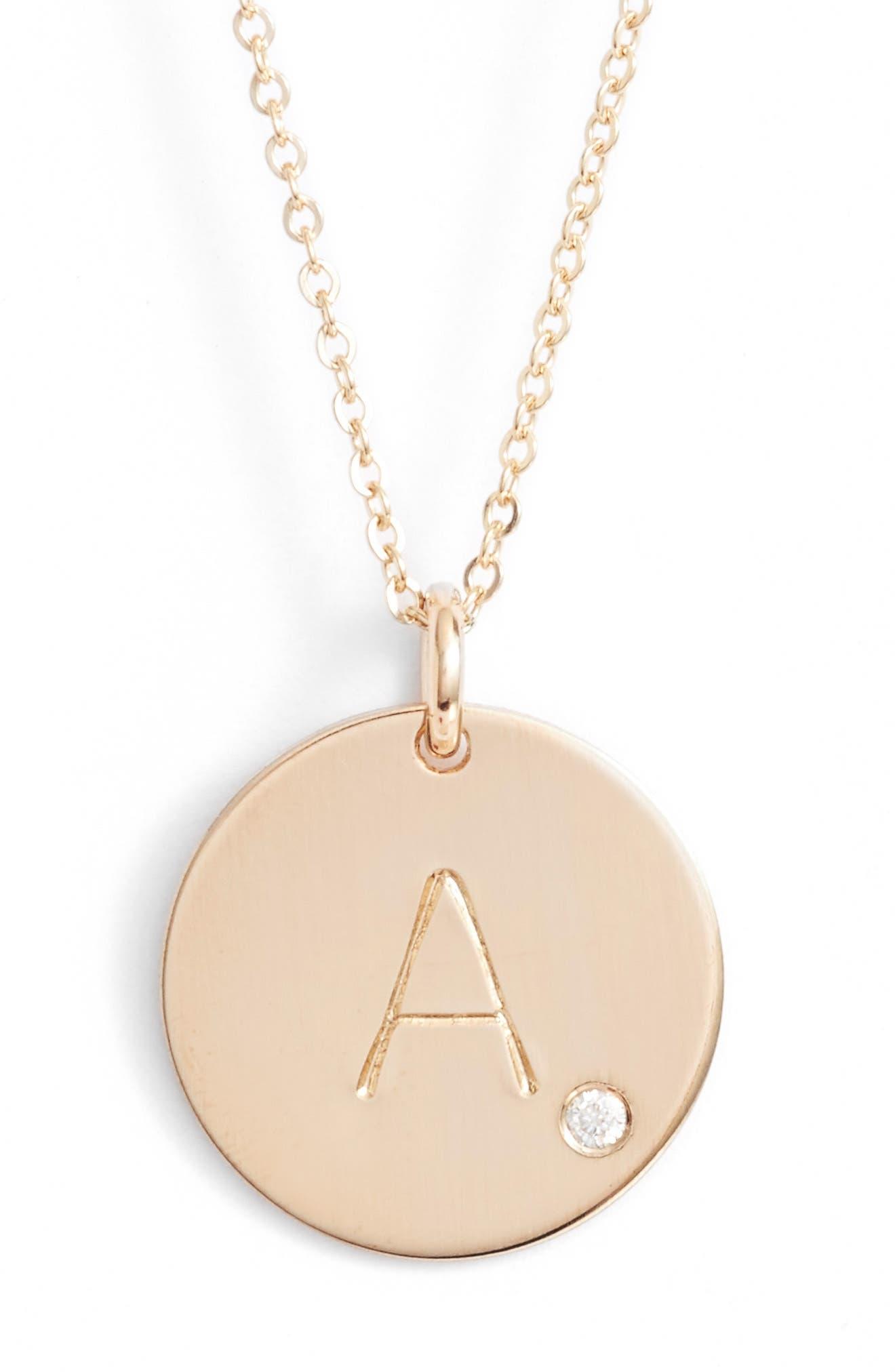 Diamond Initial Pendant Necklace,                             Main thumbnail 1, color,                             710