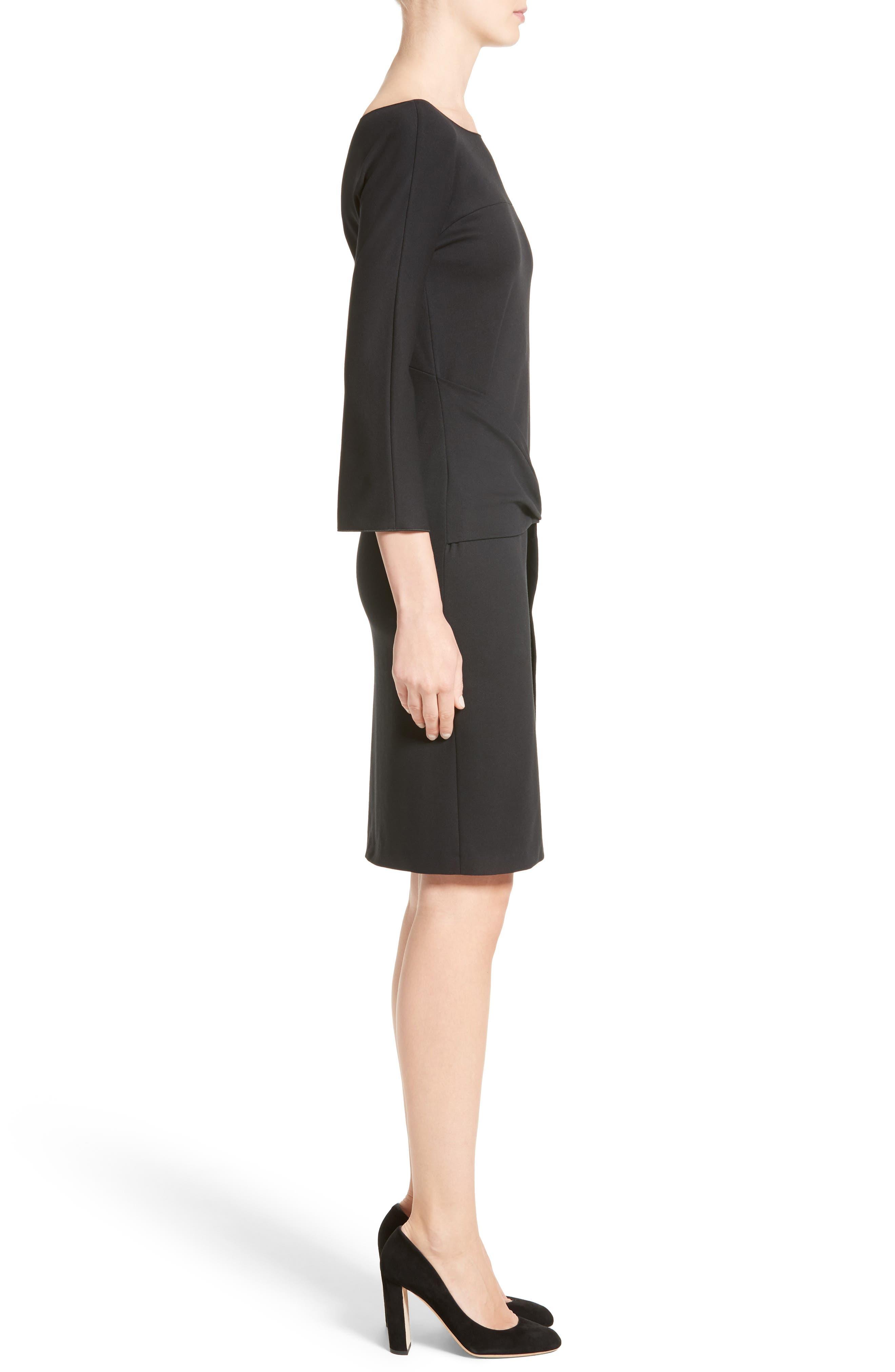 Grommet Detail Milano Jersey Dress,                             Alternate thumbnail 3, color,                             001