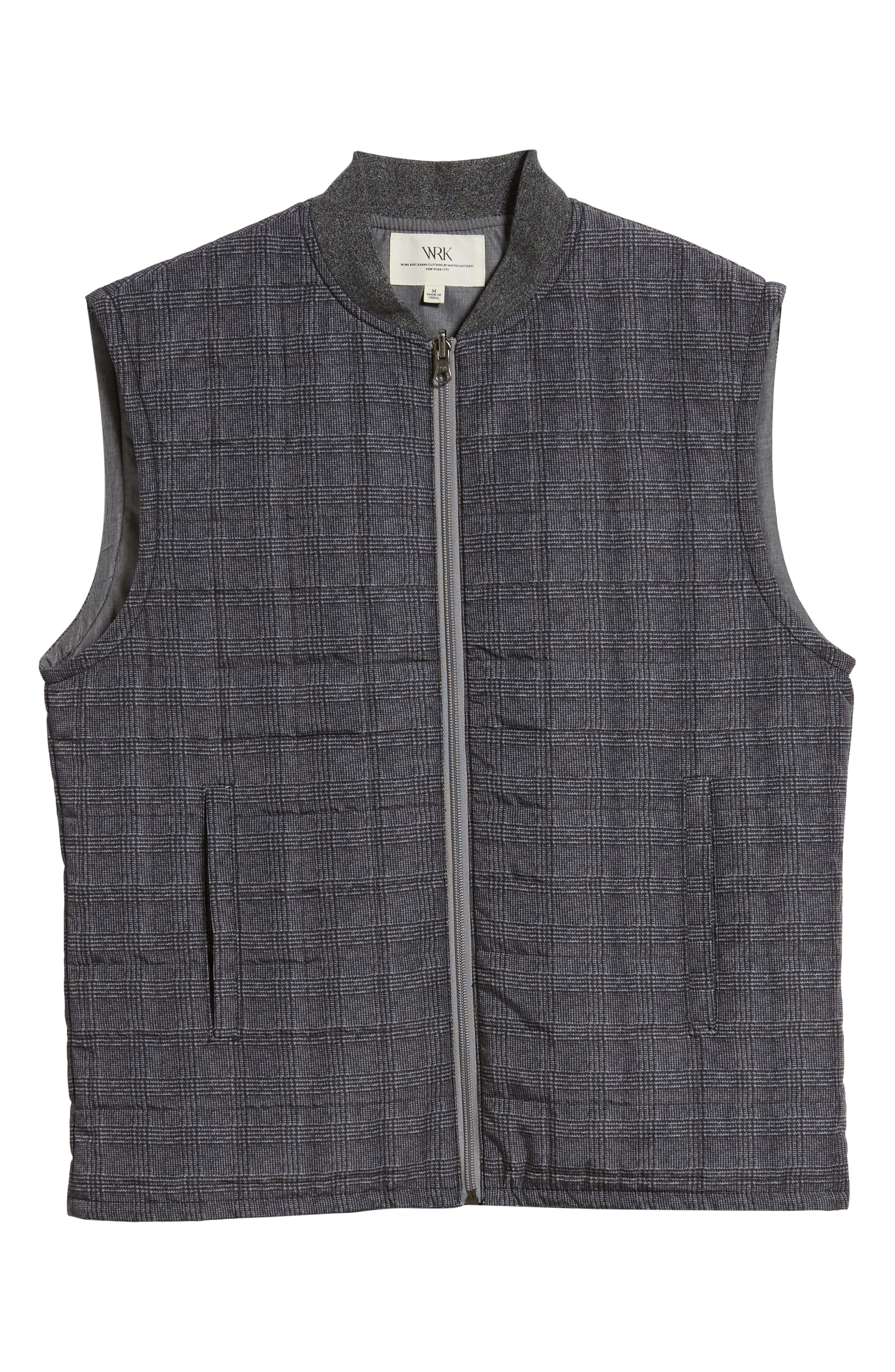 Romeo Plaid Quilted Vest,                             Alternate thumbnail 5, color,                             CHARCOAL
