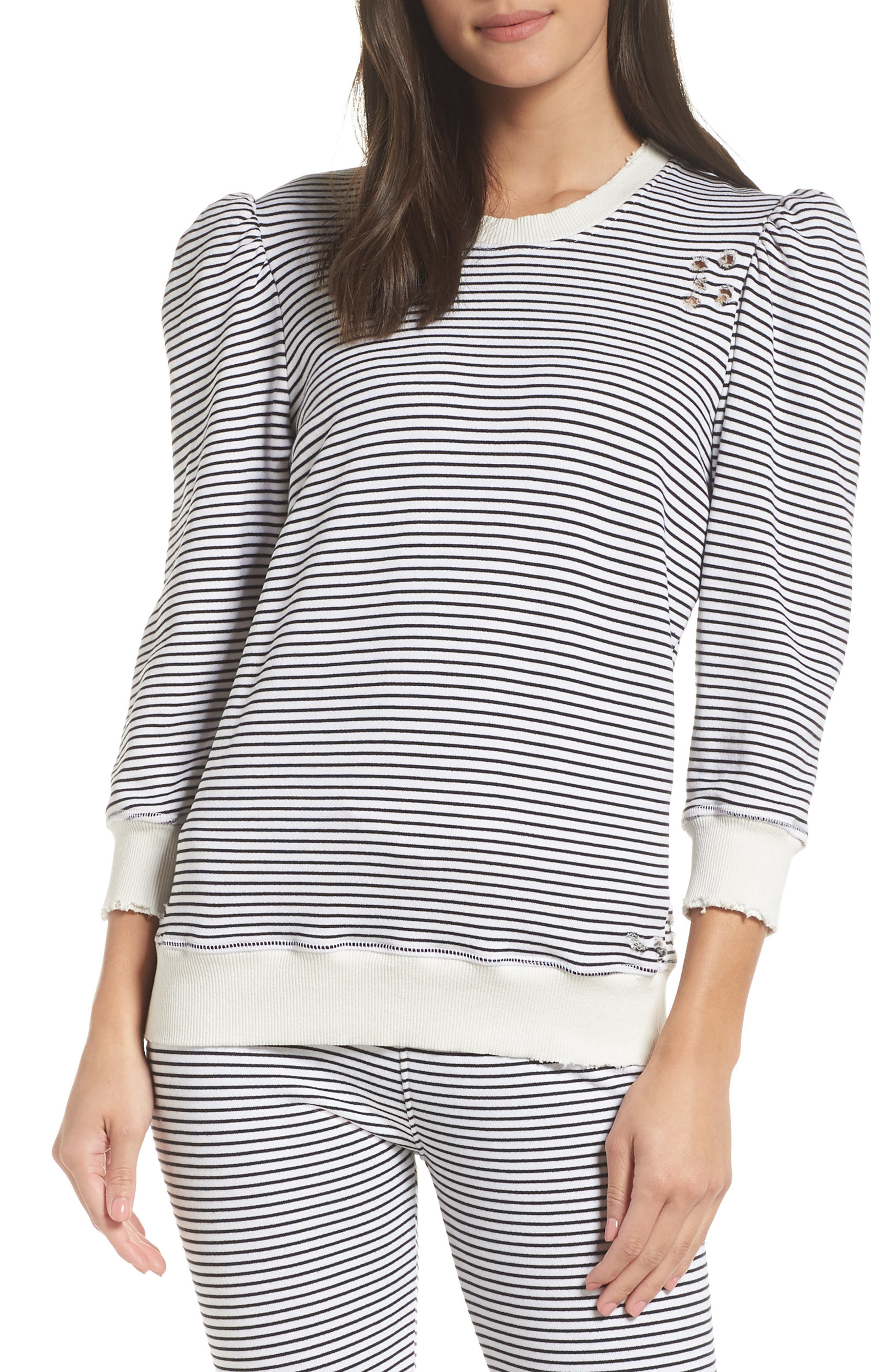 Leg of Mutton Sleeve Pullover,                             Main thumbnail 1, color,                             BLACK/ WHITE
