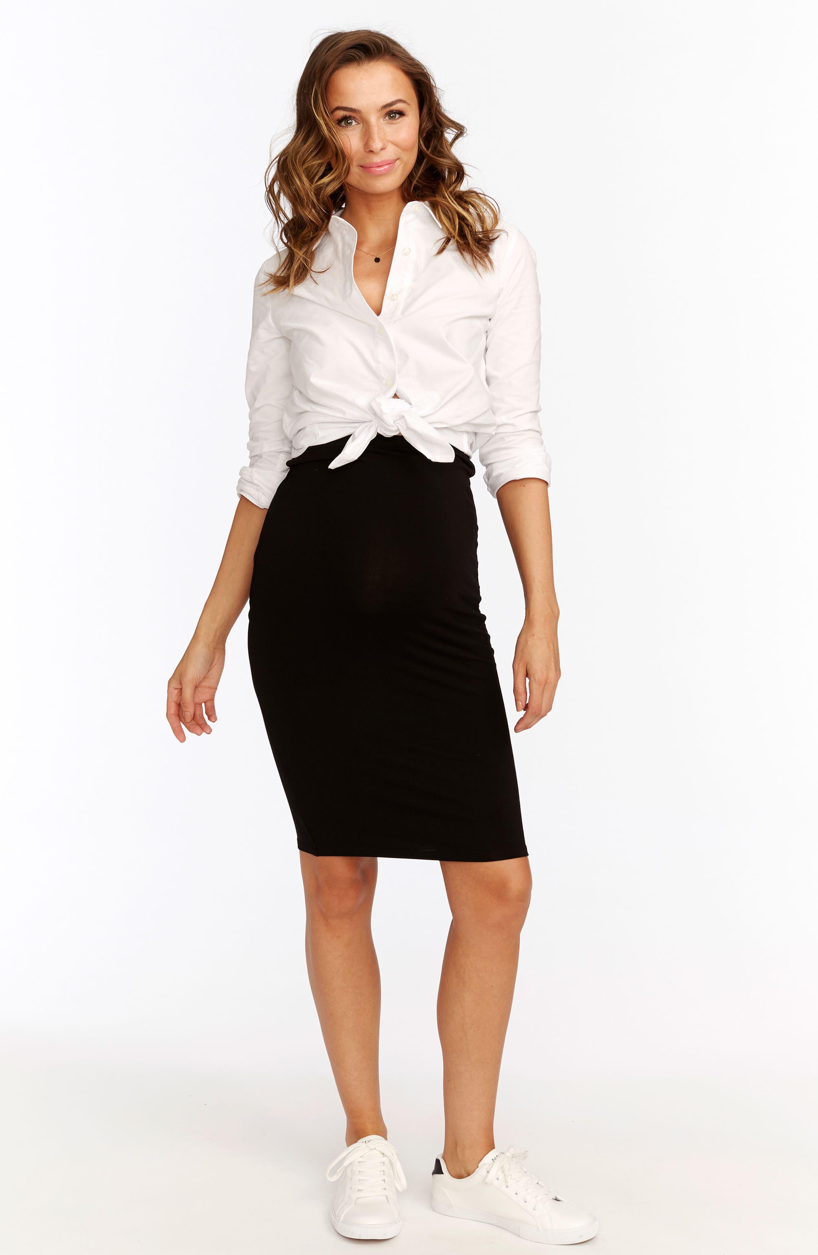 Adeline Maternity Skirt,                             Alternate thumbnail 4, color,                             BLACK