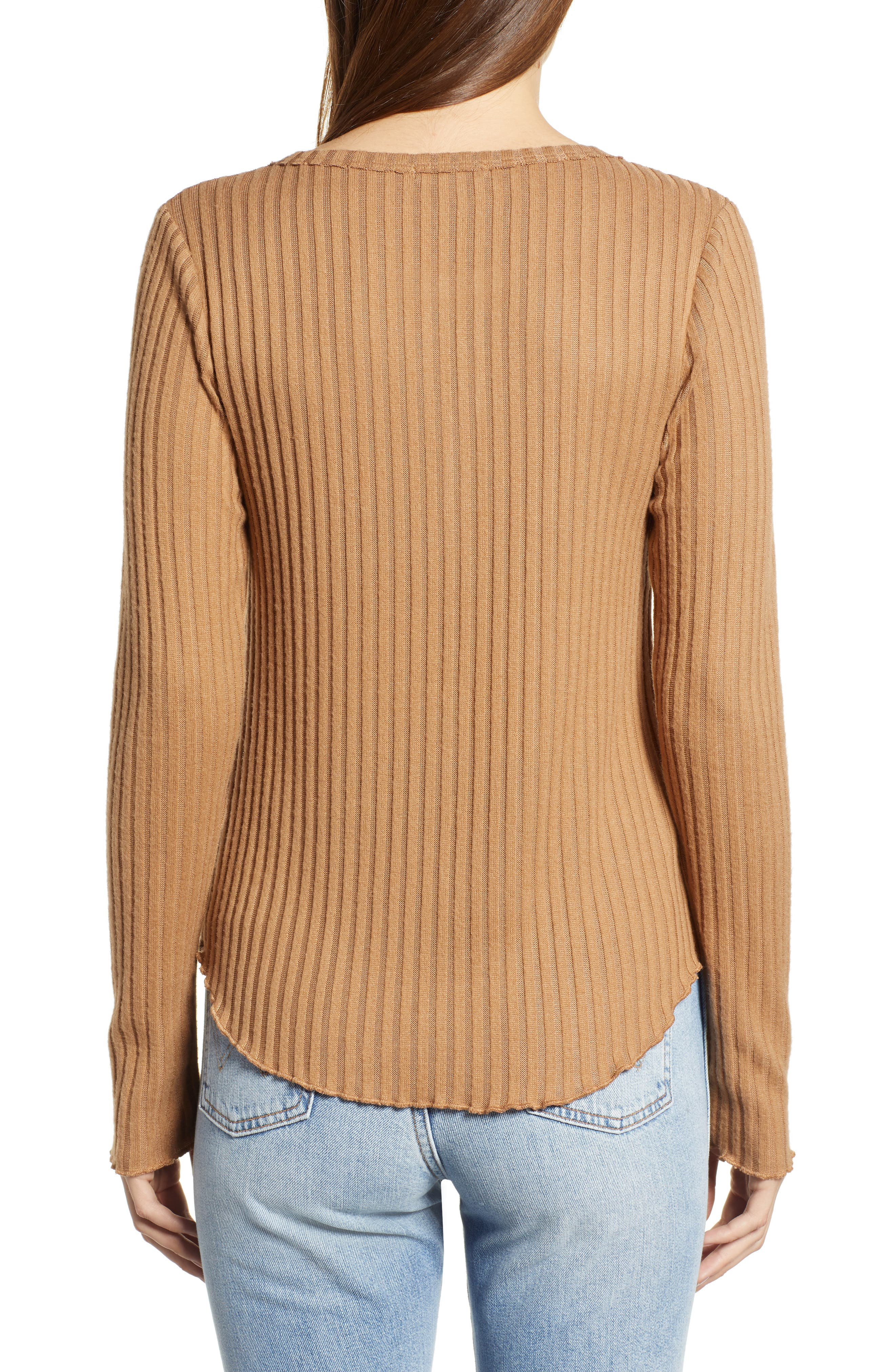 Rib Knit Henley,                             Alternate thumbnail 2, color,                             TAN BURRO