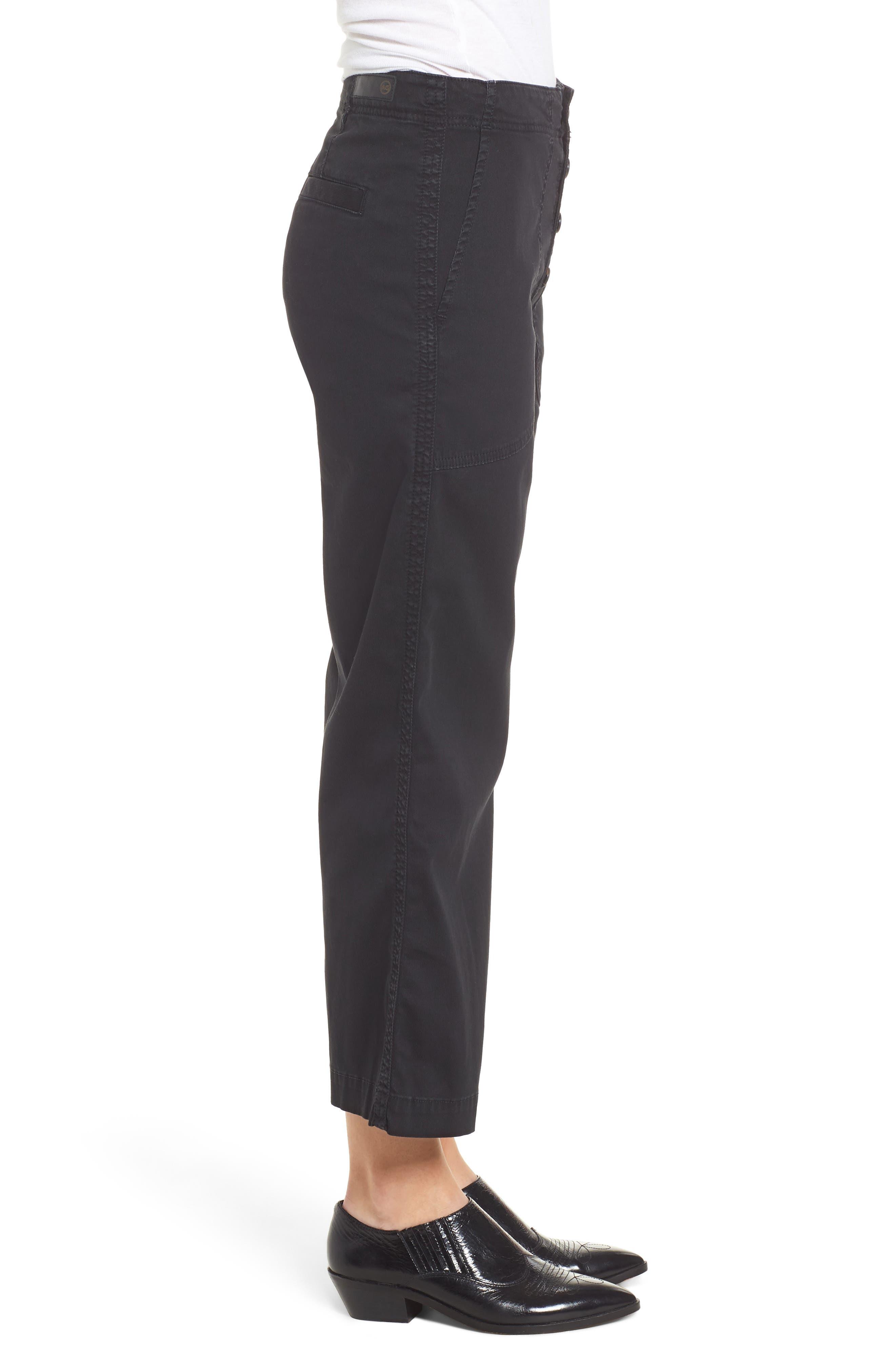 Etta High Waist Crop Wide Leg Jeans,                             Alternate thumbnail 3, color,                             SULFUR SUPER BLACK
