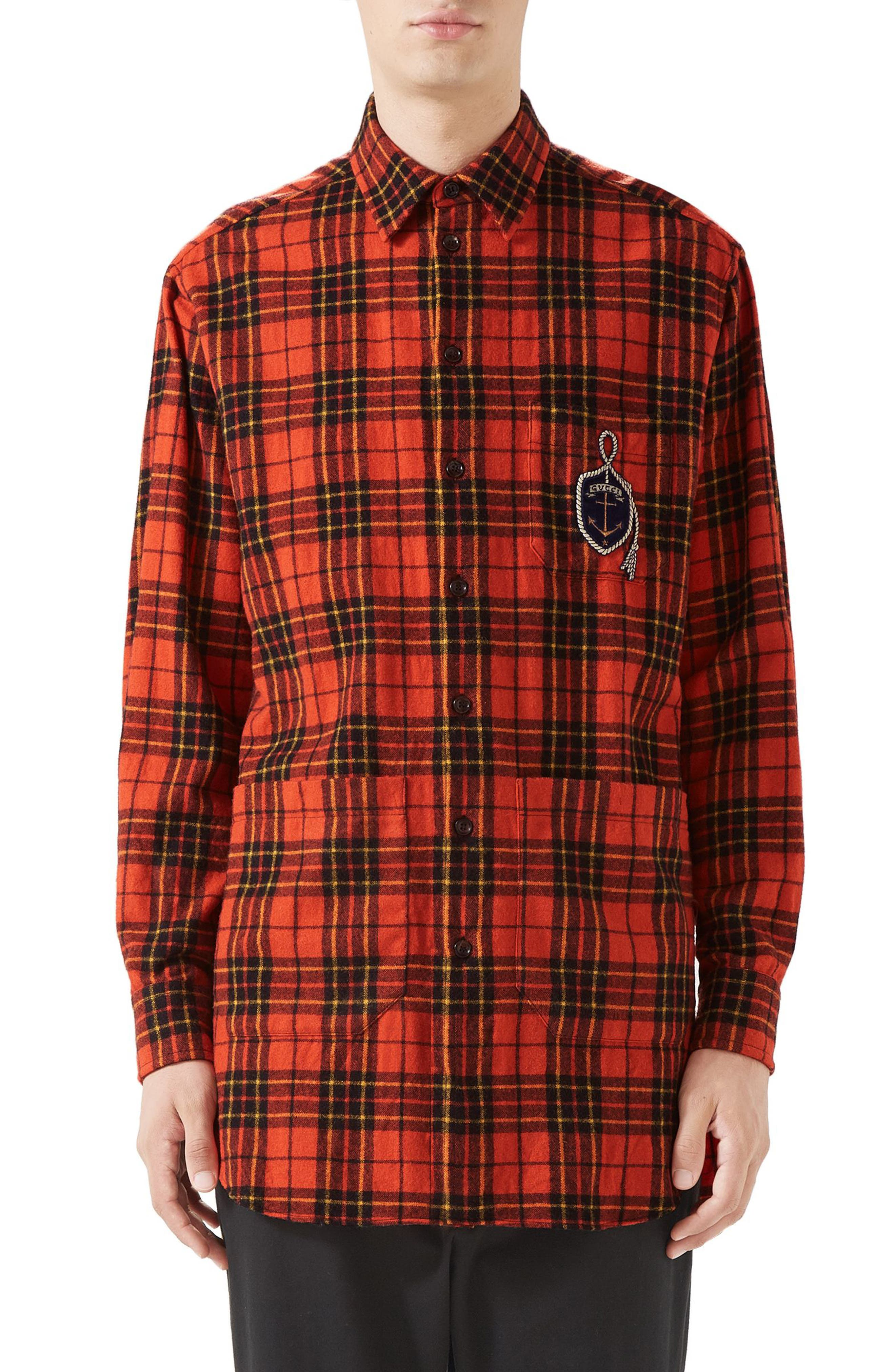 Plaid Flannel Long Sport Shirt,                         Main,                         color, ORANGE BLACK AND YELLOW