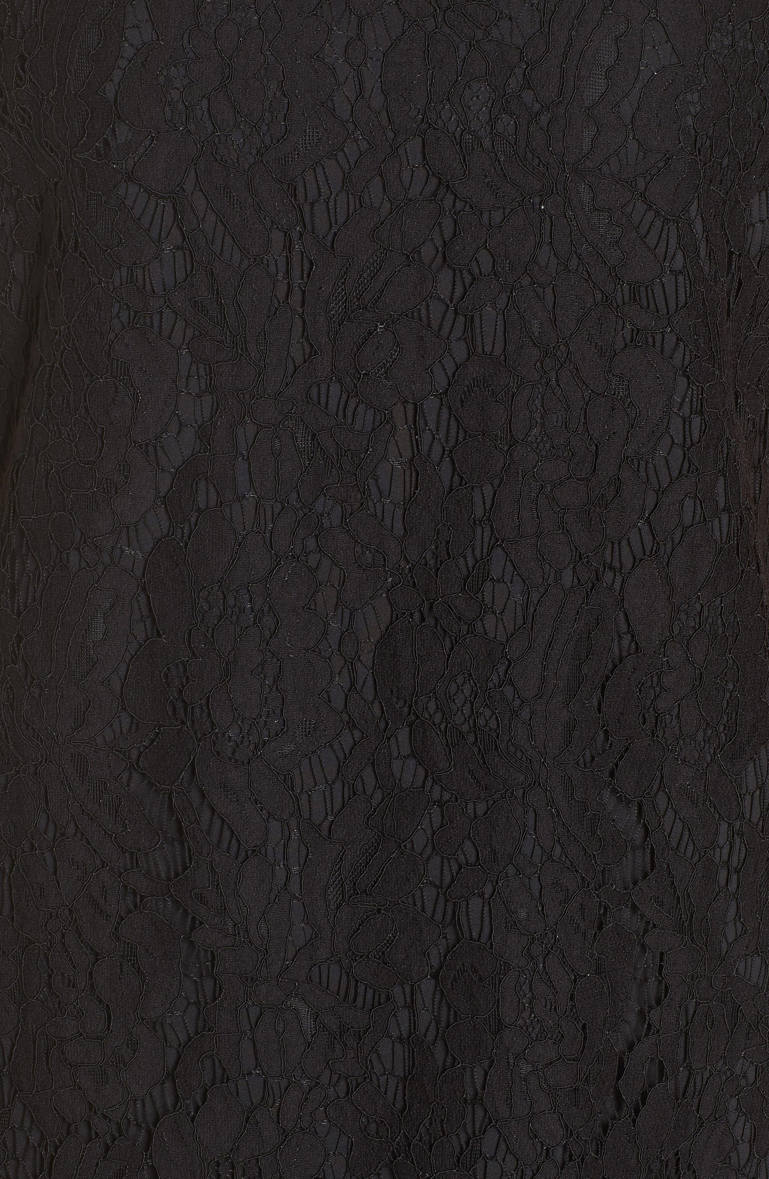 High Neck Lace Shift Dress,                             Alternate thumbnail 6, color,                             001