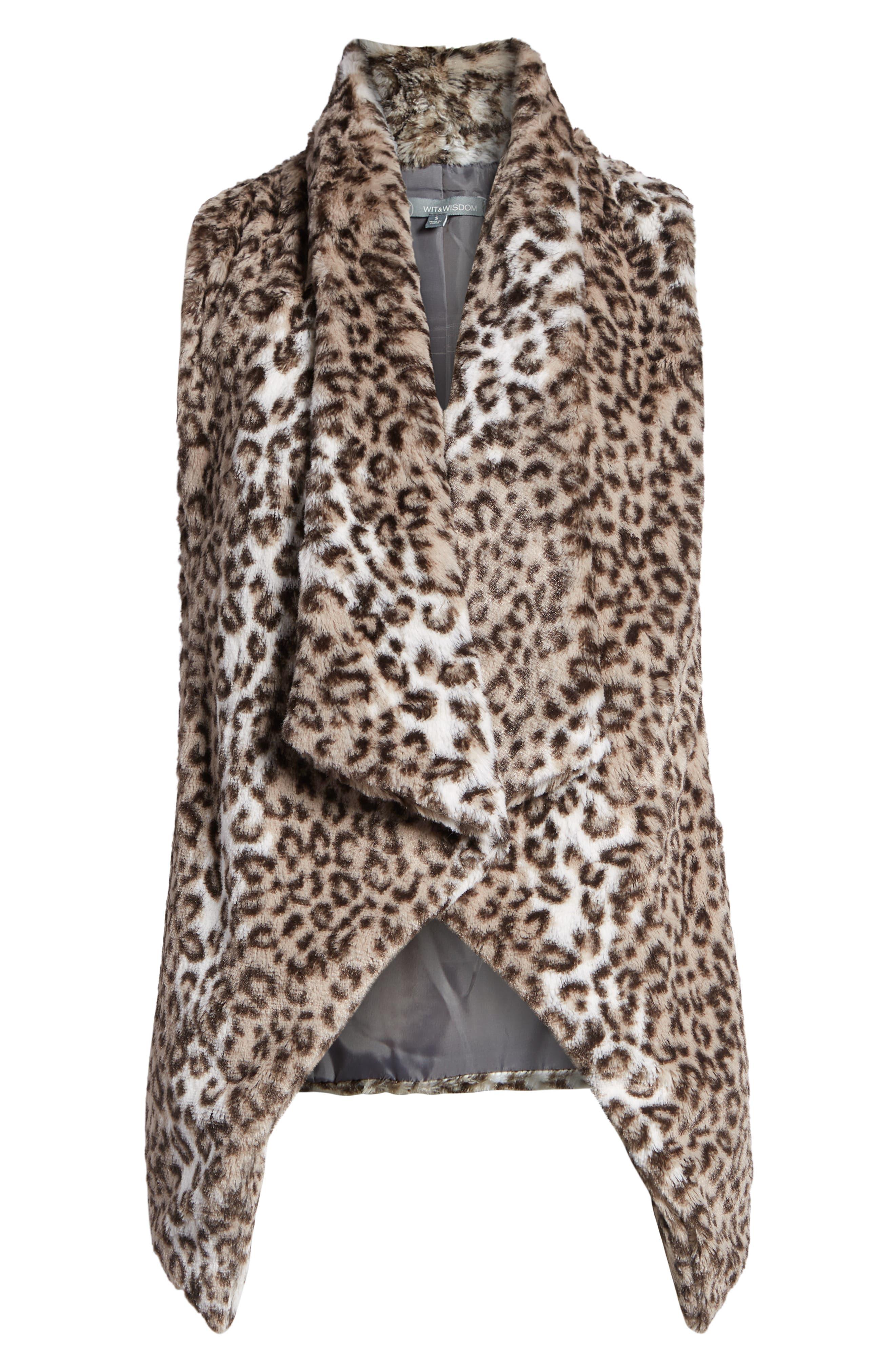Draped Faux Leopard Fur Vest,                             Alternate thumbnail 6, color,                             LIGHT CASHMERE