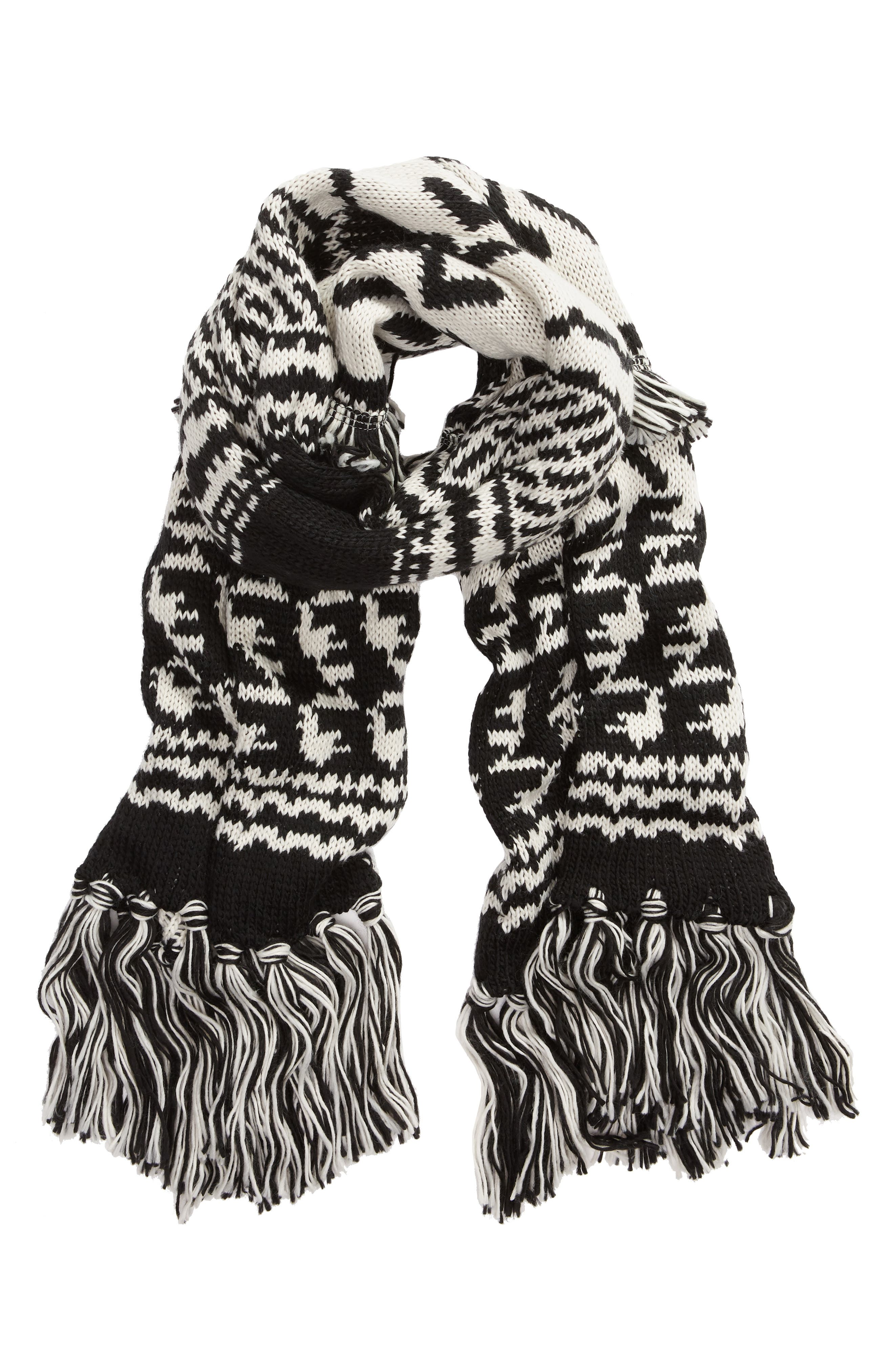 Mile High Fleece Fringe Scarf,                             Alternate thumbnail 2, color,                             BLACK AND WHITE COMBO