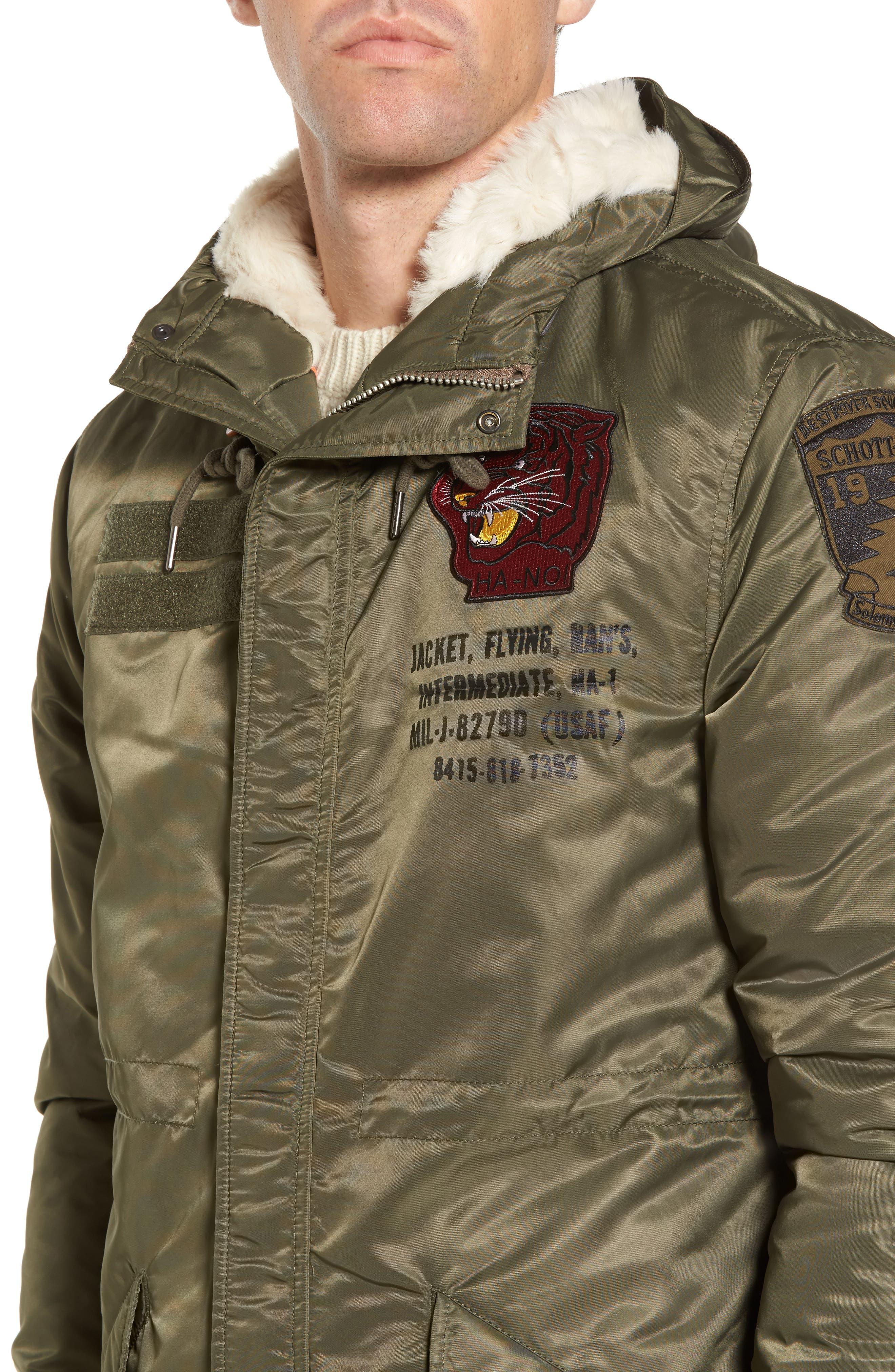 N3-B Snorkel Flight Jacket with Faux Fur Trim & Lining,                             Alternate thumbnail 8, color,