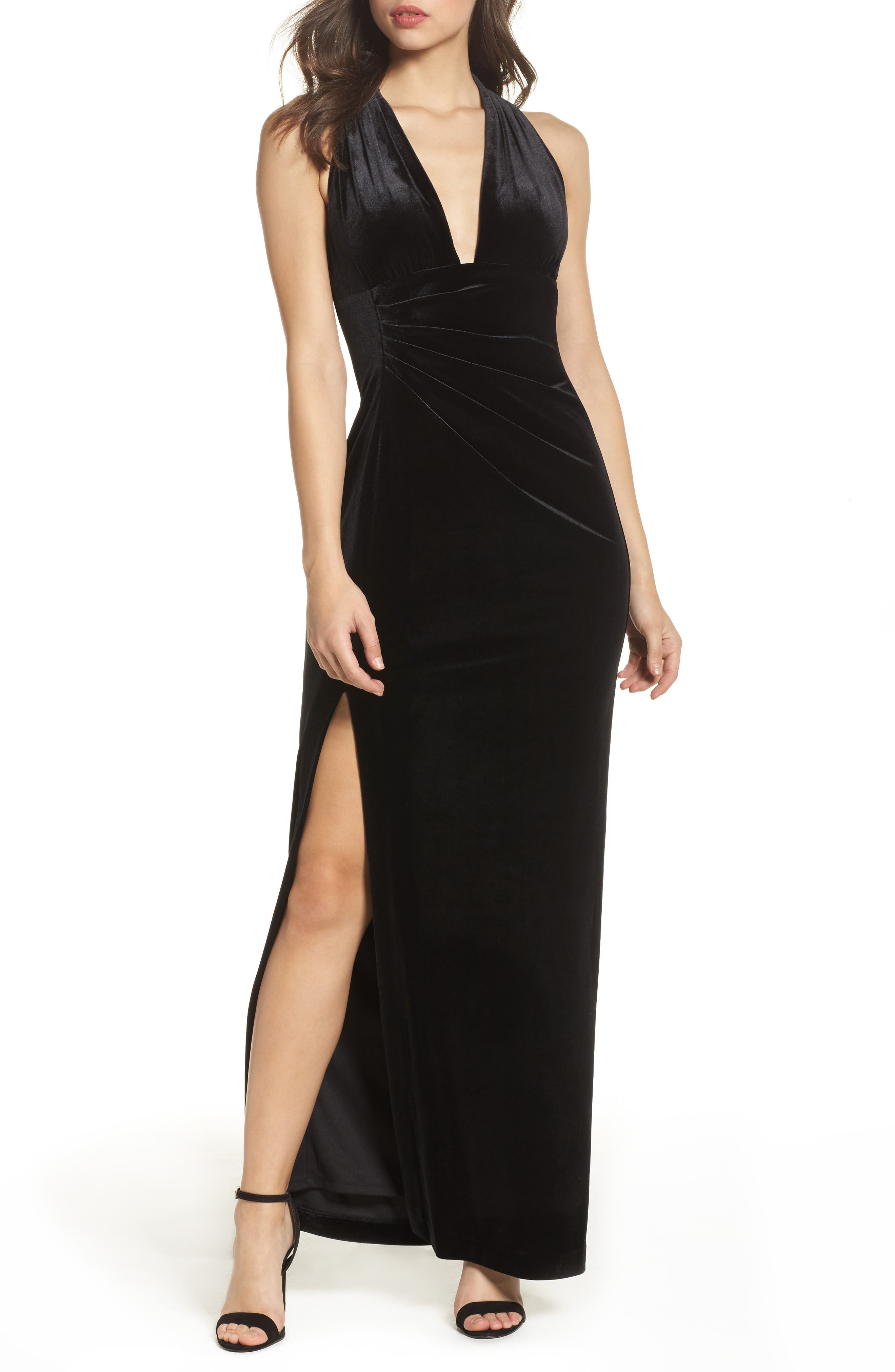 Plunging Side Drape Velvet Gown,                             Main thumbnail 1, color,                             001